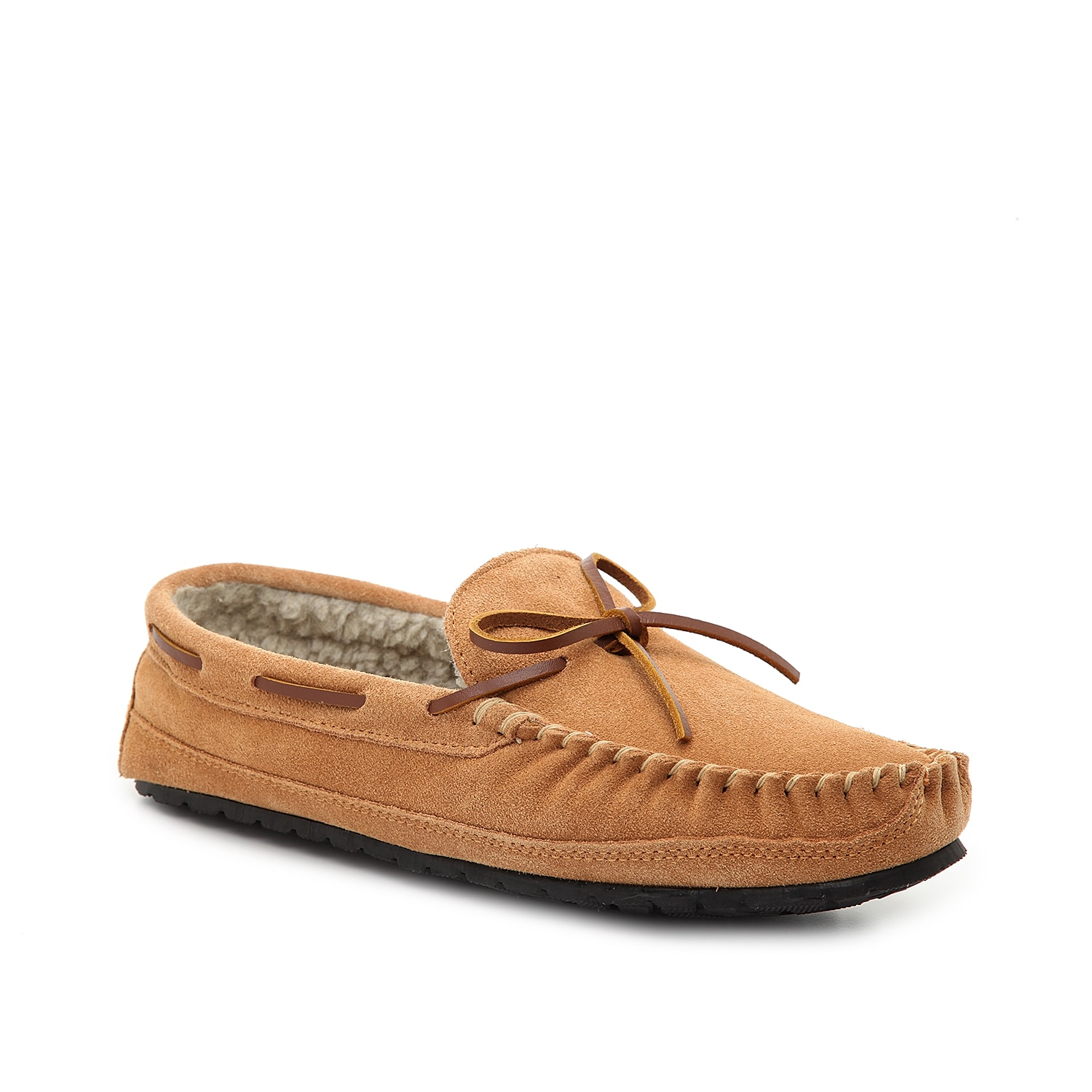 The Casey moccasin slippers from Minnetonka are so cozy you\\\'ll want to wear them everywhere you go. Featuring a rubber hardsole, these suede slippers can be worn inside and outside!
