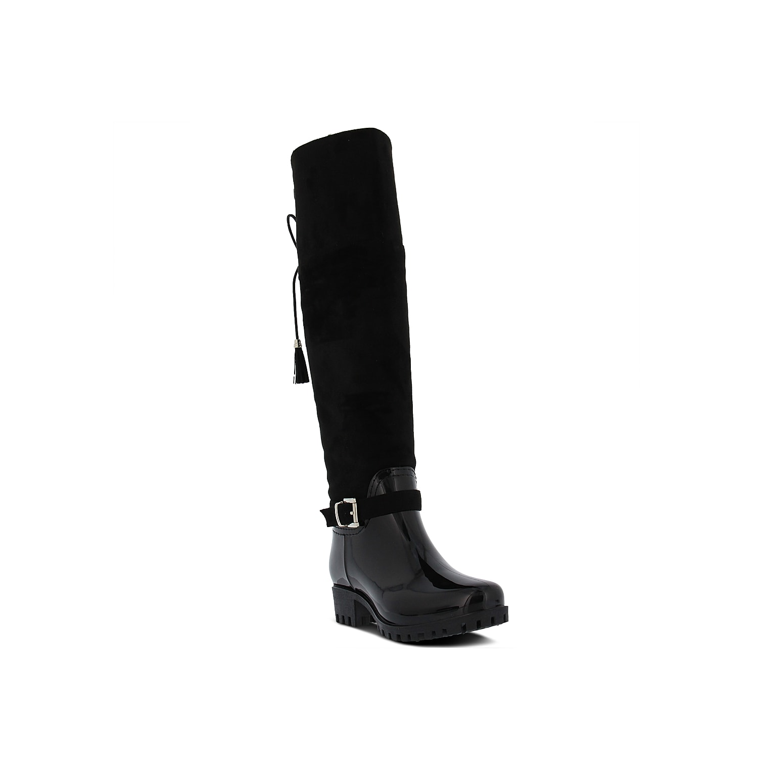 Don\\\'t let the weather ruin your chic style with the Mattie rain boot from Spring Step. A decorative buckle and tassel accent sets this knee high boot apart from the rest. Click here for Boot Measuring Guide.