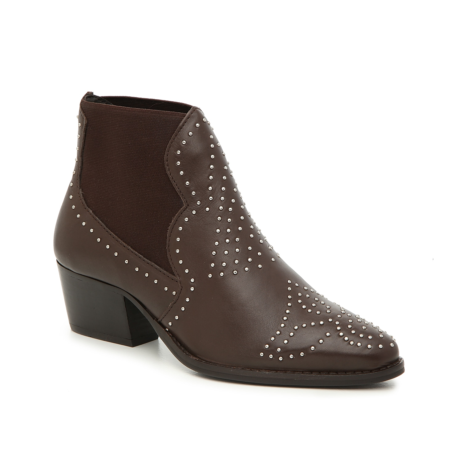 Make the Zach western chelsea boot from Charles by Charles David a major player in your rotating wardrobe. This low-top bootie is fashioned with dual side gores and stud details that will ensure a trendy finishing touch!