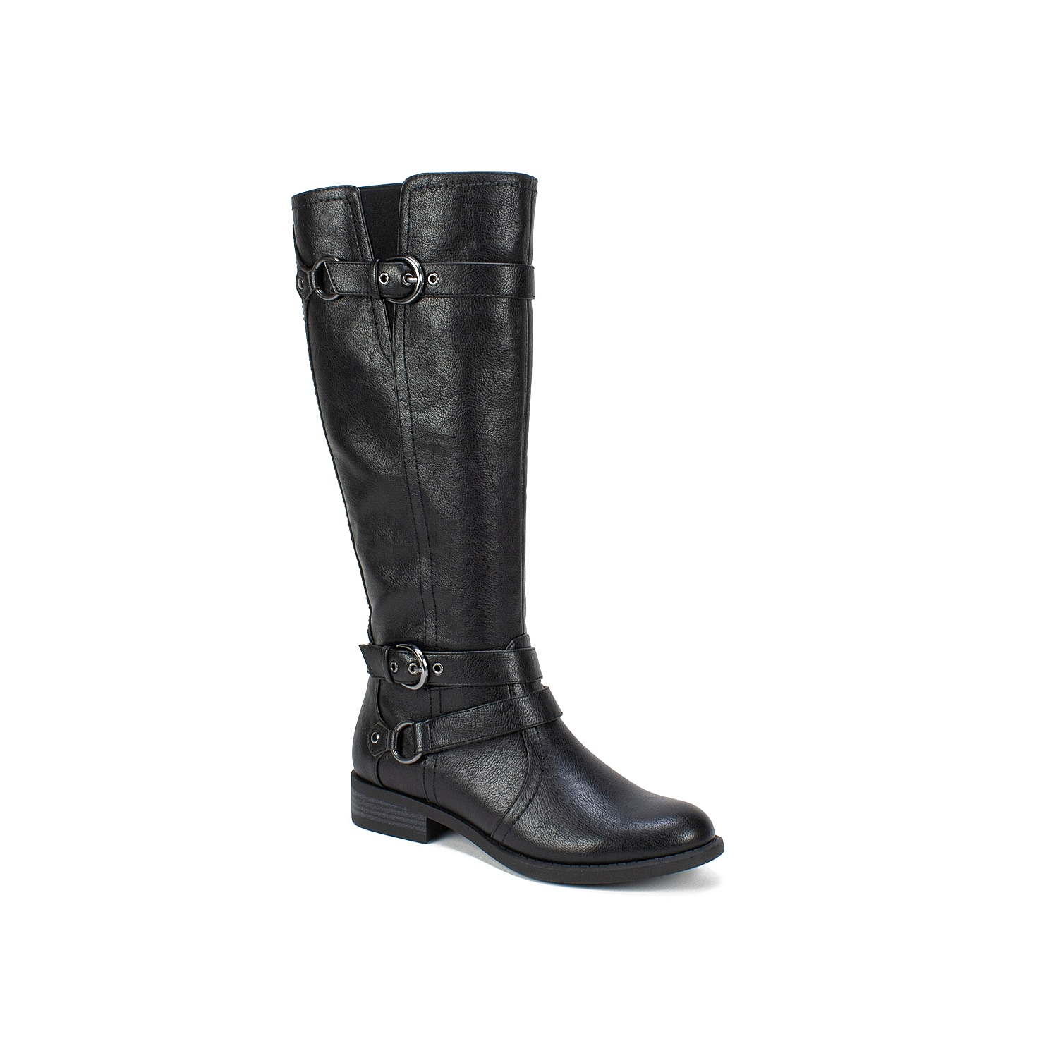 The Loyal wide calf riding boot from the Heritage Collection by White Mountain is a versatile addition to your wardrobe. Designed with an elastic comfort panel for a perfect fit, these tall boots feature decorative wrapped ankle and calf straps with buckle detail and hardware accents for a fashionable look.Click here for Boot Measuring Guide.