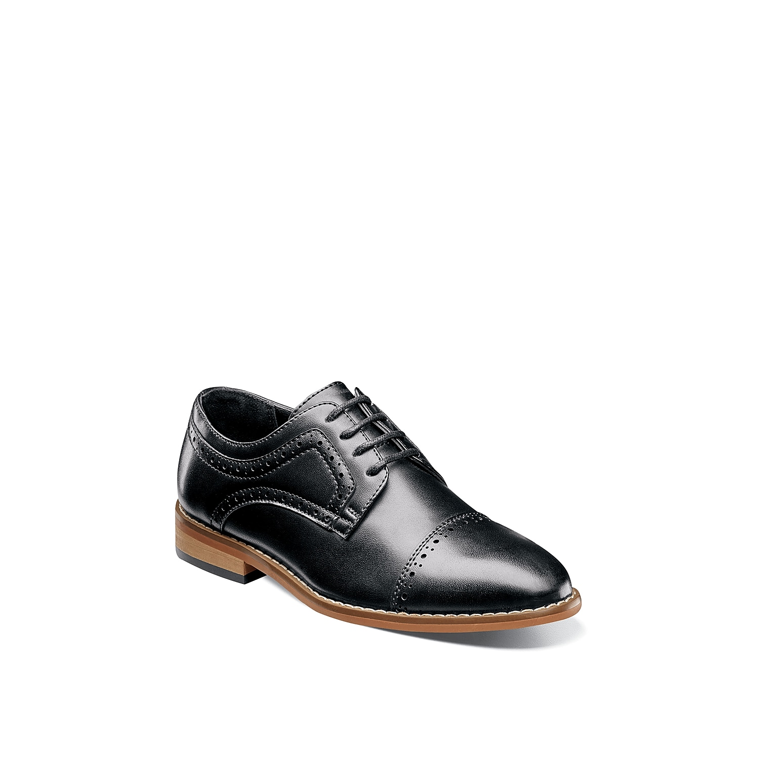 Your little guy will look absolutely dapper when wearing hte Dickinson oxford from Stacy Adams. This dress shoe features perforated brogue detailing that will give his outfit a handsome look! Not sure which size to order? Clickhereto check out our Kids' Measuring Guide! For more helpful tips and sizing FAQs, clickhere.