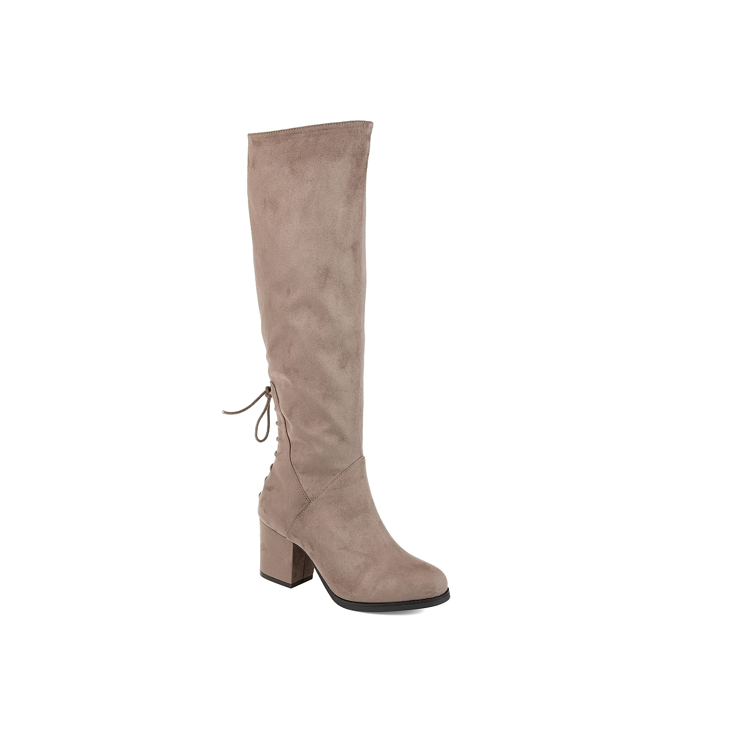 The Leeda boot from Journee Collection will change up your everyday look. This silhouette features a tall shaft and a lace-up bow detail in the back for extra intrigue! Click here for Boot Measuring Guide.