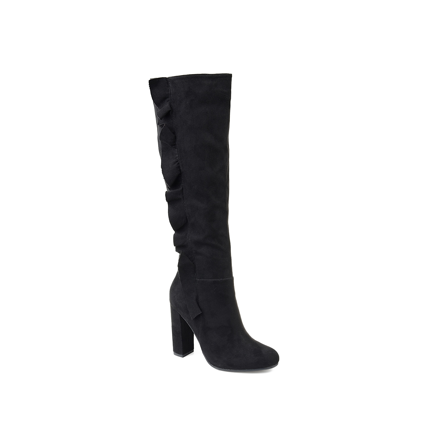 Enchant all who pass by in the Vivian boot from Journee Collection. These tall boots feature a confident-inducing block heel and a ruffle accent up the shaft for a feminine finish. Click here for Boot Measuring Guide.