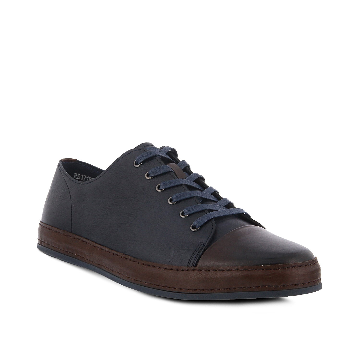 Update your casual look with a hint of sophistication with the Jimmy cap toe sneaker from Spring Step. This low-top features handsome colorblock styling and a leather wrapped midsole for a modern update on a classic style.