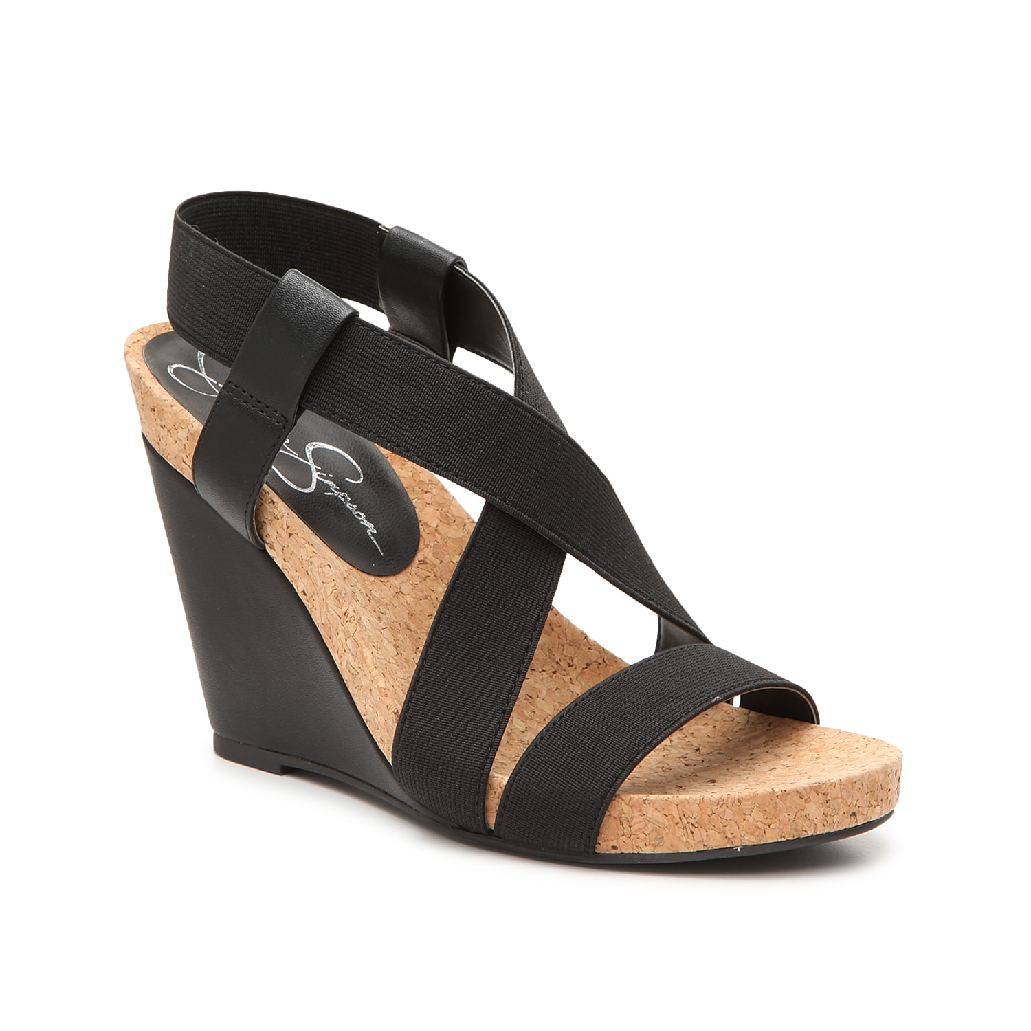 Add textural intrigue to your look with the Brisy sandal from Jessica Simpson. These wedges feature a stretchy slingback strap for a custom fit and are finished with a cork footbed for comfort and ease.