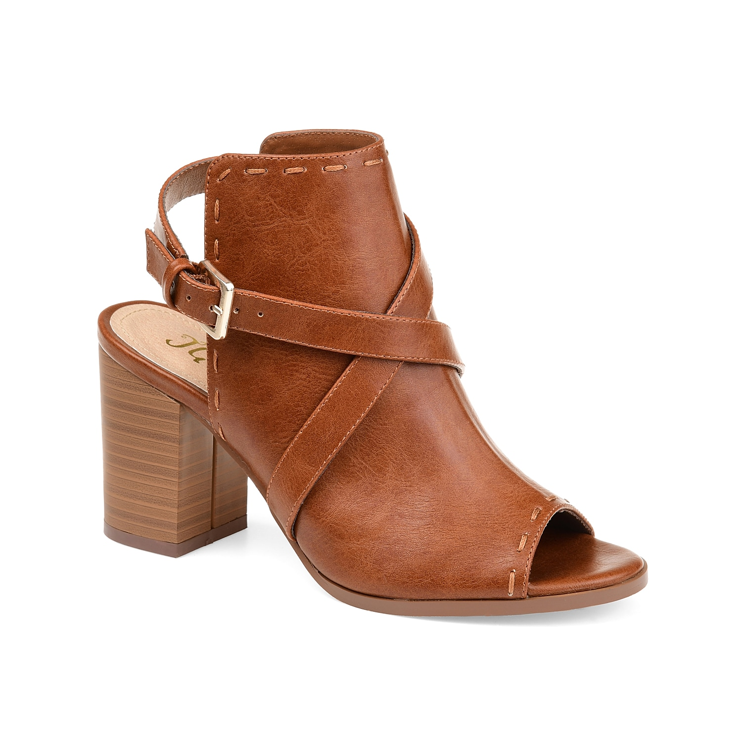 Step up your fashion game with the Theda shootie from Journee Collection. Sporting a neat open-back profile, this open-toe shootie features impressive crisscross buckled straps and subtle stitching accents.