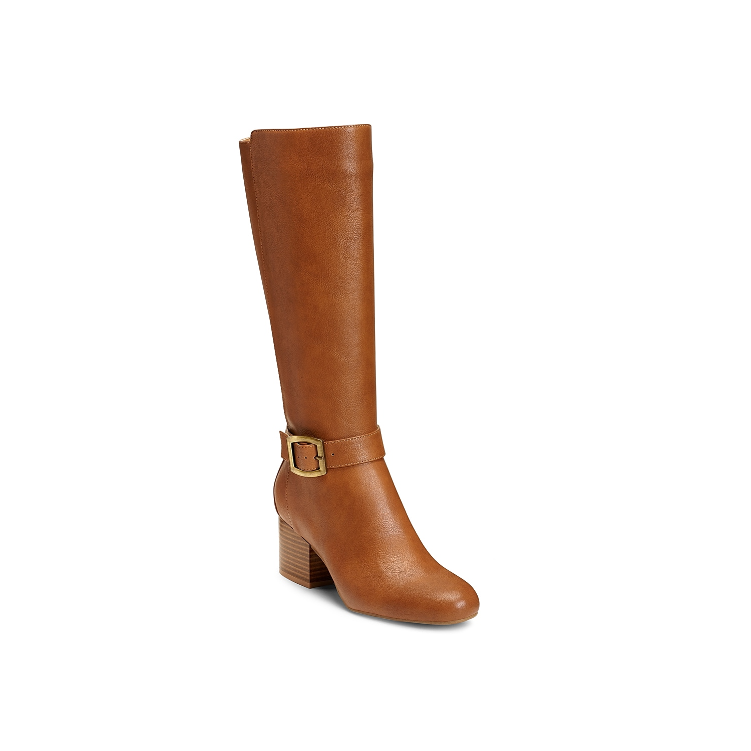 Enjoy elevated style when you pull on the Patience boot from Aerosoles. These tall leatherette boots features a smooth-as-silk upper and an elegant buckle that\\\'s neatly placed at the ankle.