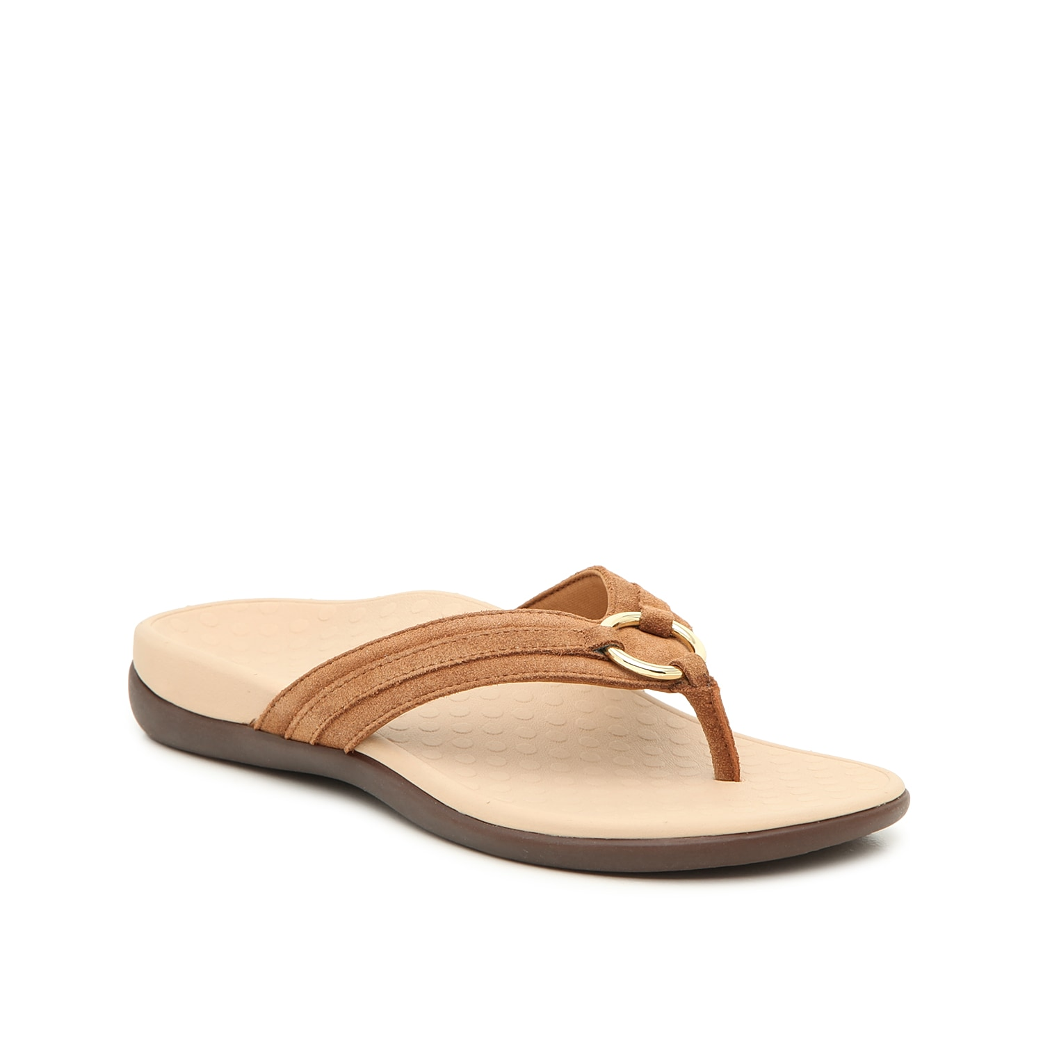 Sport an athletic look in the Tide Aloe flip flops from Vionic. These sandals feature a contoured footbed for supportive comfort and suede straps for lasting wear.