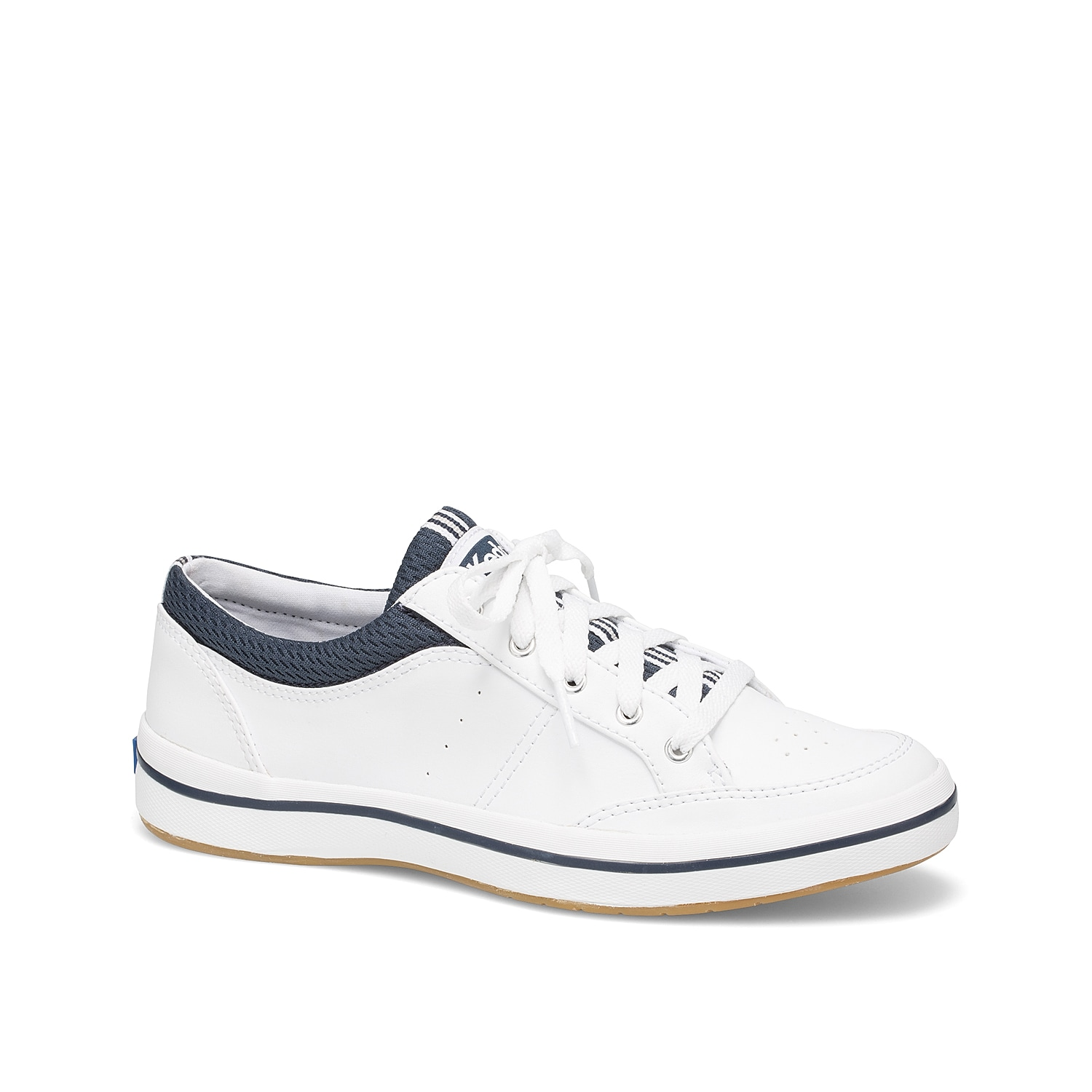 Make your casual style flair with the Rebel sneaker from Keds. This low-top sneak is fashioned with a clean, leather construction and a mesh topline that will go great with a cute baseball hat and short overalls!