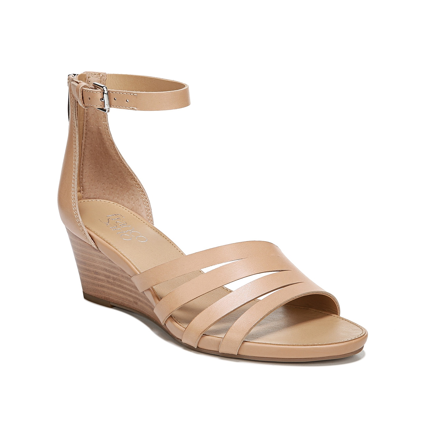 Keep it classic with the Dutch sandal from Franco Sarto. This two-piece pair is fashioned with strappy accents and a wedge heel that will stand out when worn with light wash jeans or a vibrant sundress.