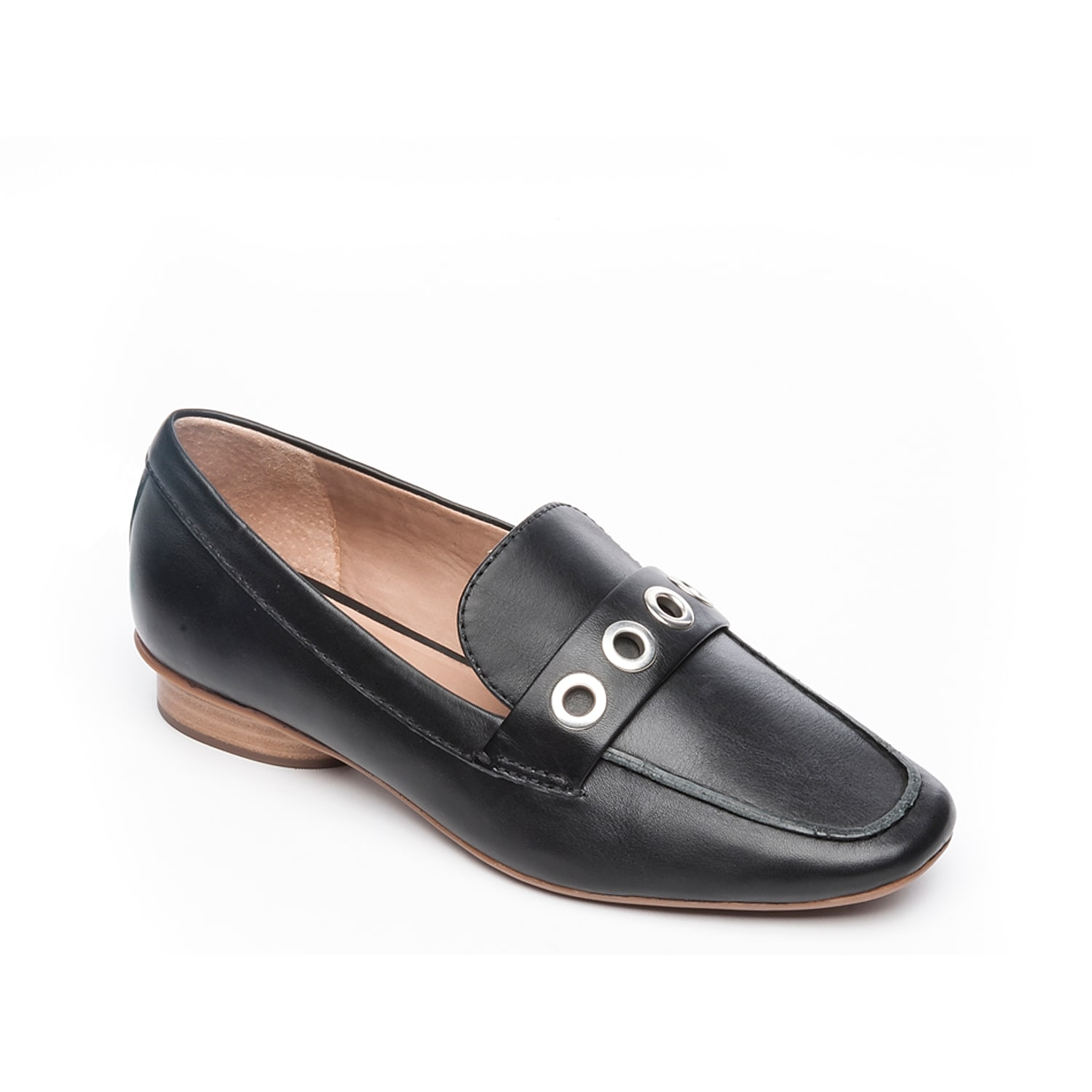 Provide a hint of edge to refined ensembles with the Jaden loafer from Bernardo. These slip-ons feature a round block heel and large grommet-accented strap that stand out with cropped slacks or an A-Line dress.