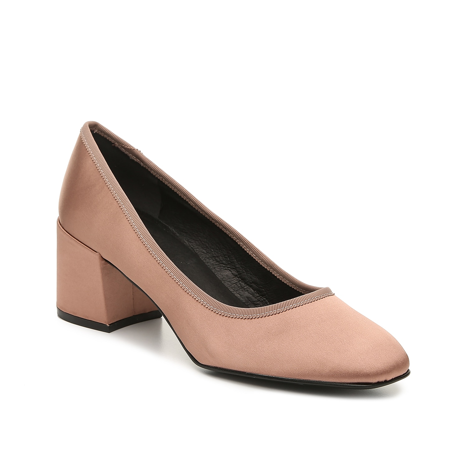 The Eryn pump from Kenneth Cole New York flaunts a classic design with a modern twist. A chunky block heel and grosgrain ribbon trim complements the square toe for a versatile silhouette.