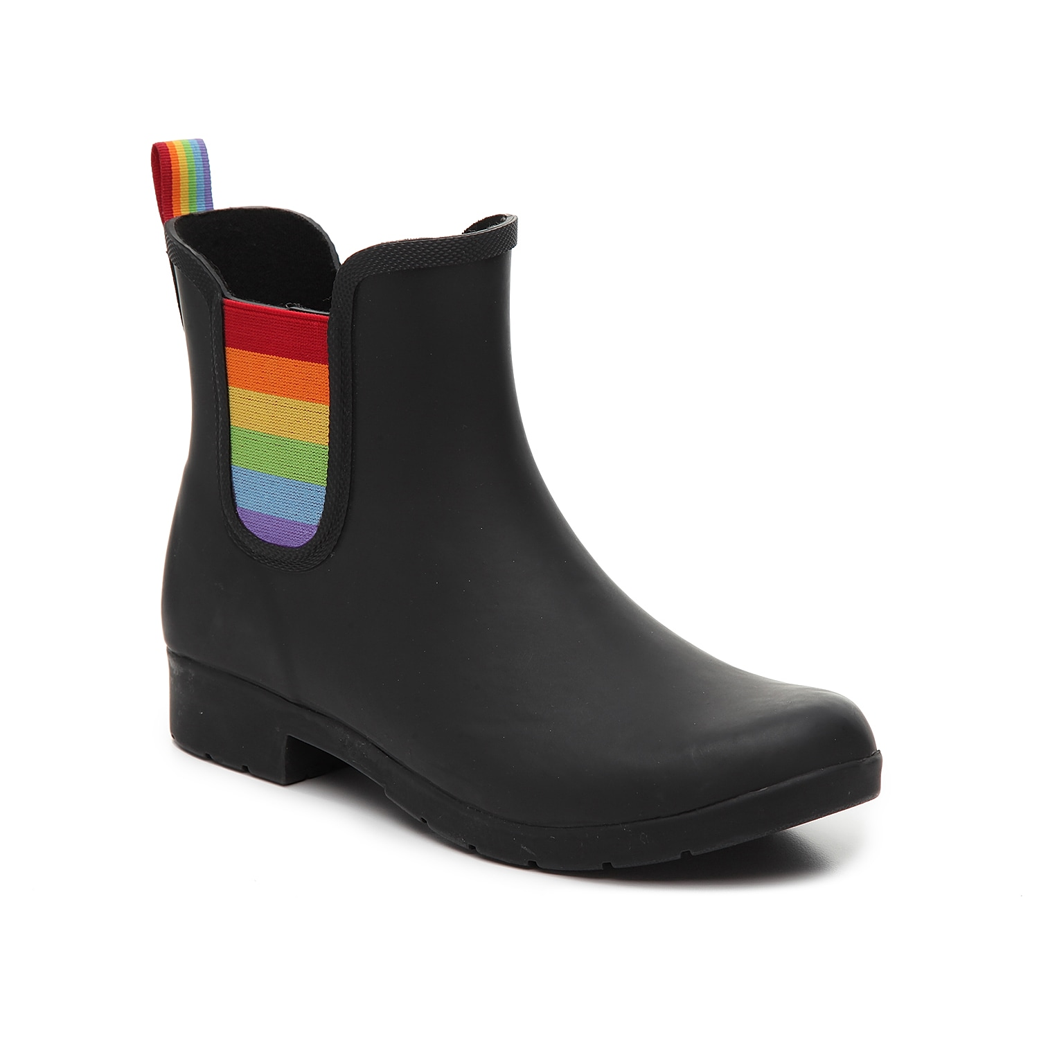 Splash around in style with the Eastlake Pride rain boot from Chooka. Featuring a Chelsea boot design with rainbow gores, this waterproof bootie will become your new go-to for rainy days.