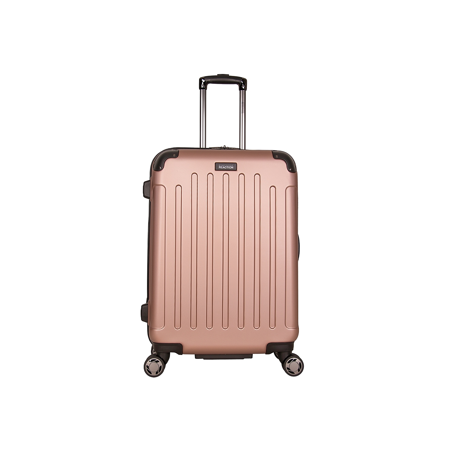 Fly through airport terminals with these free-weight rolling suitcases from Kenneth Cole Reaction. The Corner Guard expandable luggage is fitted with 8 multi-directional spinners, molded reinforcements on all four sides, and a durable hardcase exterior. Flexible top and side grab handles allow for easy lifting into airline overhead compartments.