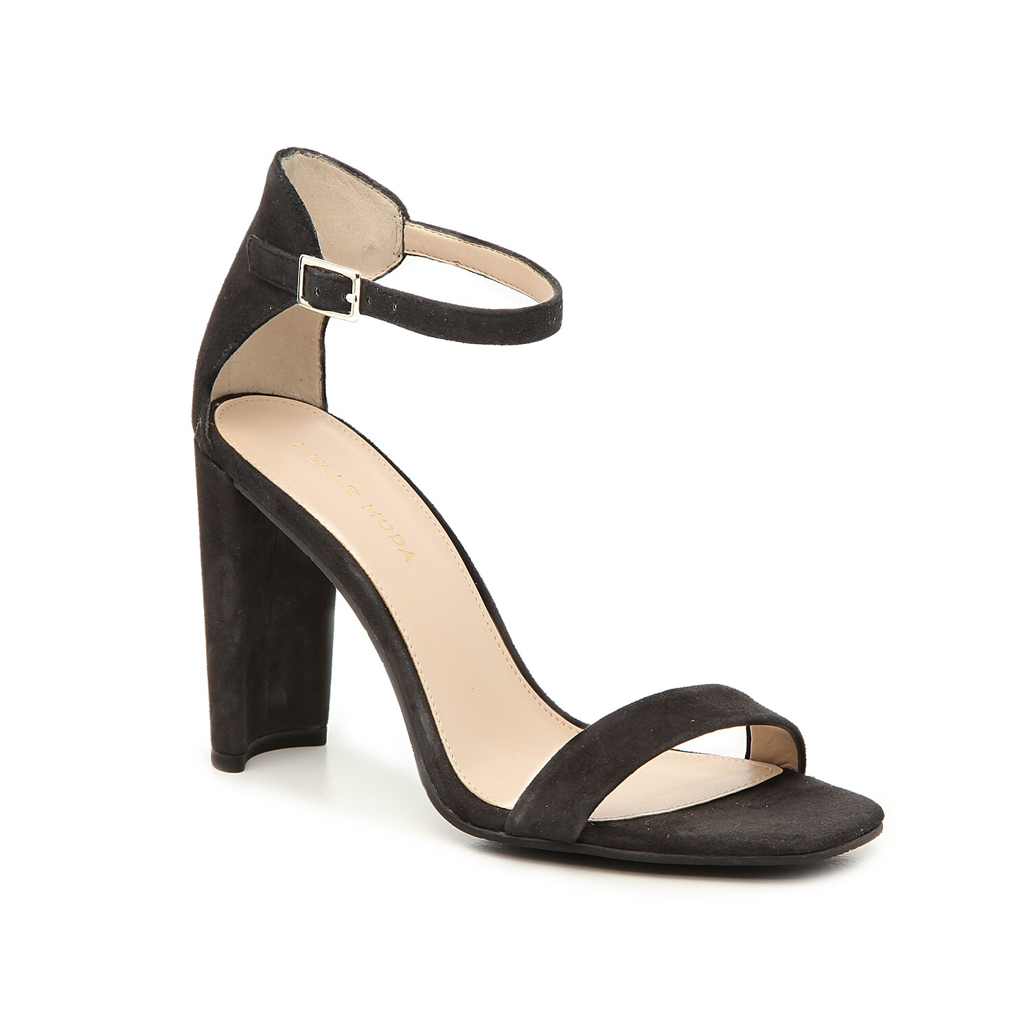 The Lucille sandal from Pelle Moda takes the two-piece trend to the next level of sophistication. A flat block heel and open square toe is finished with a soft suede material for versatile appeal.