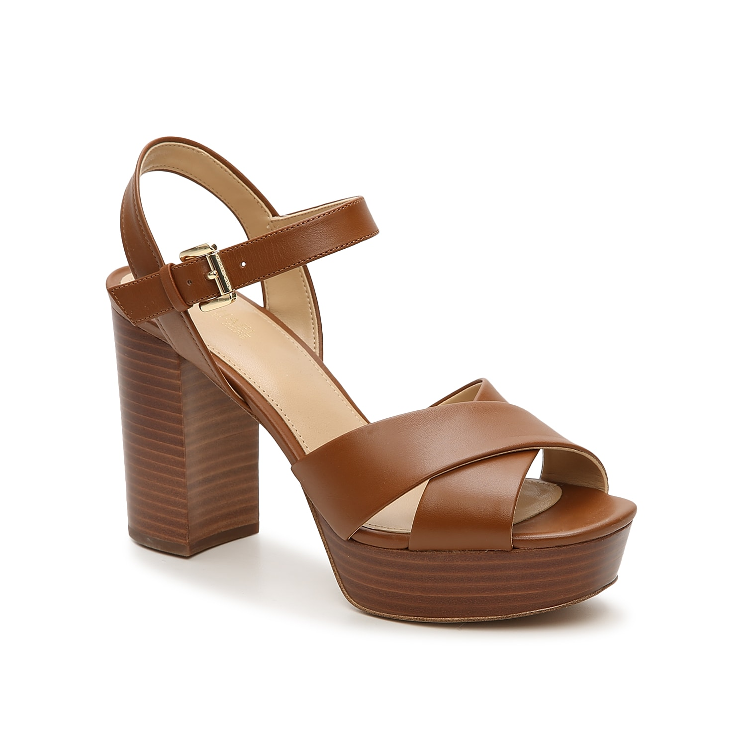 Take your warm weather wardrobe to new heights with the Diva platform sandal from Michael Michael Kors. This leather pair features a retro-inspired platform and block heel for eye-catching appeal.
