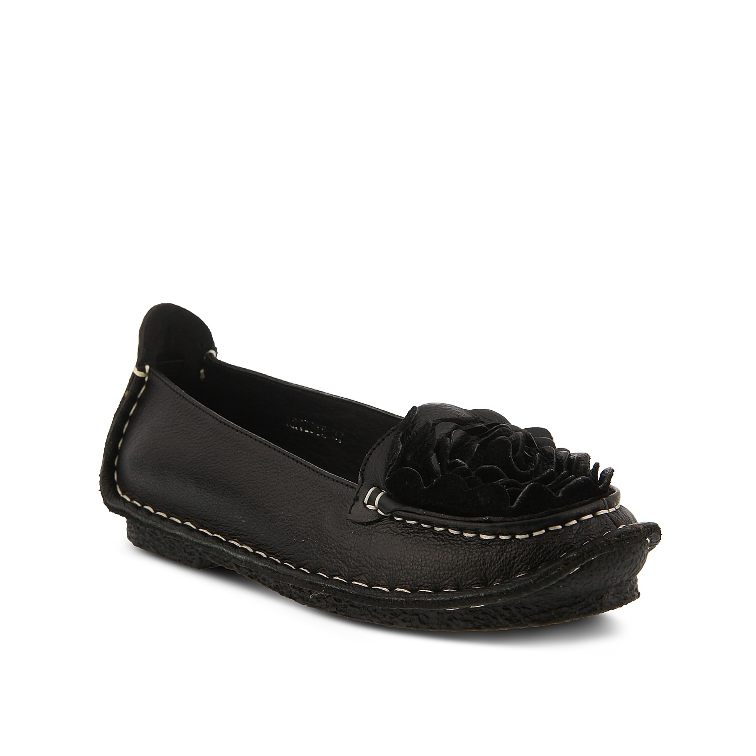 Dress up any outfit with the Dezi flat from L\\\'Artiste by Spring Step. These leather slip-ons feature a soft padded insole to keep you comfortable while you are on your feet and are finished with a bold floral applique for nature-inspired flair and texture.