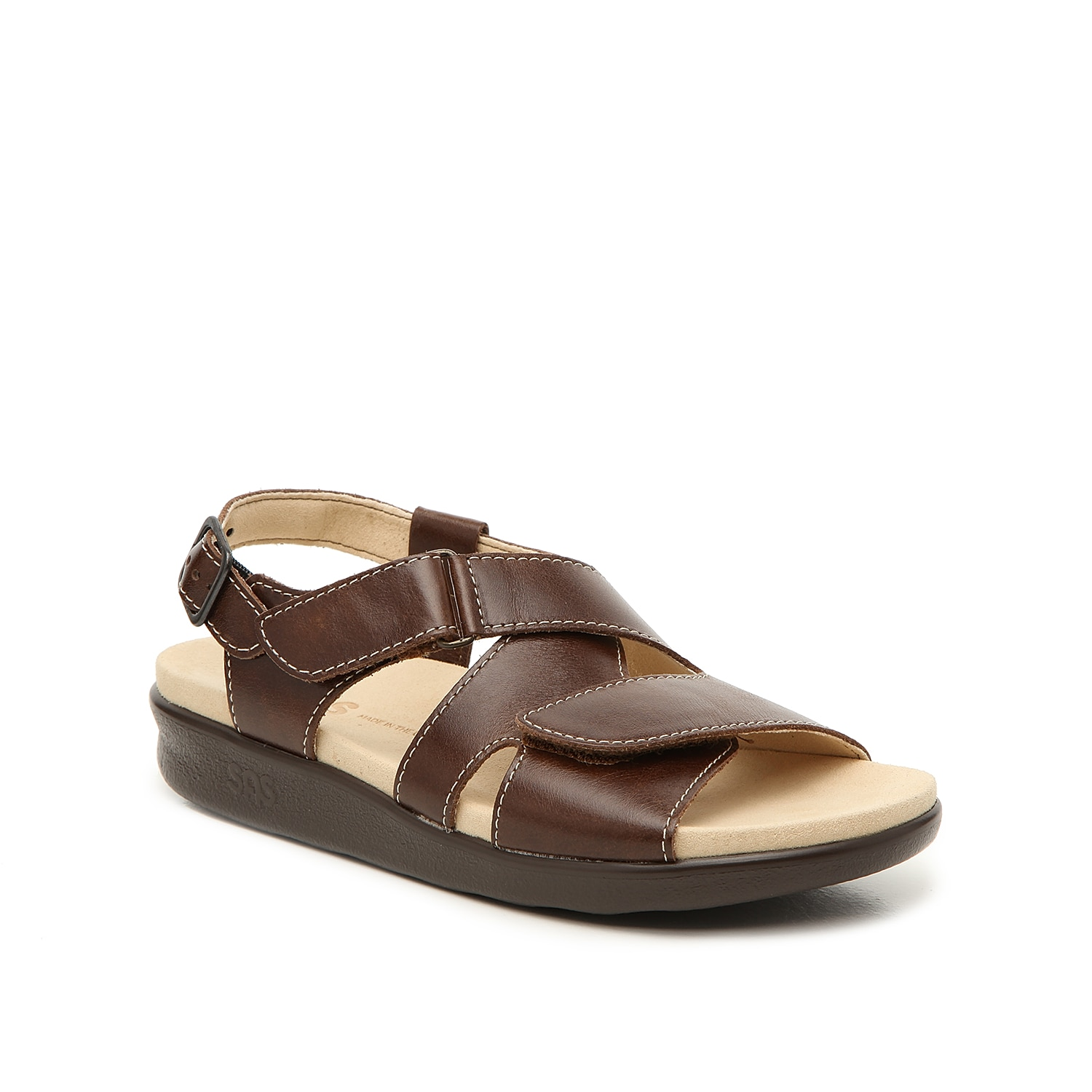 Your feet will fall in love with the Huggy wedge sandal from Sas. A contoured footbed and molded midsole offer support while the hook and loop straps provide a custom fit!
