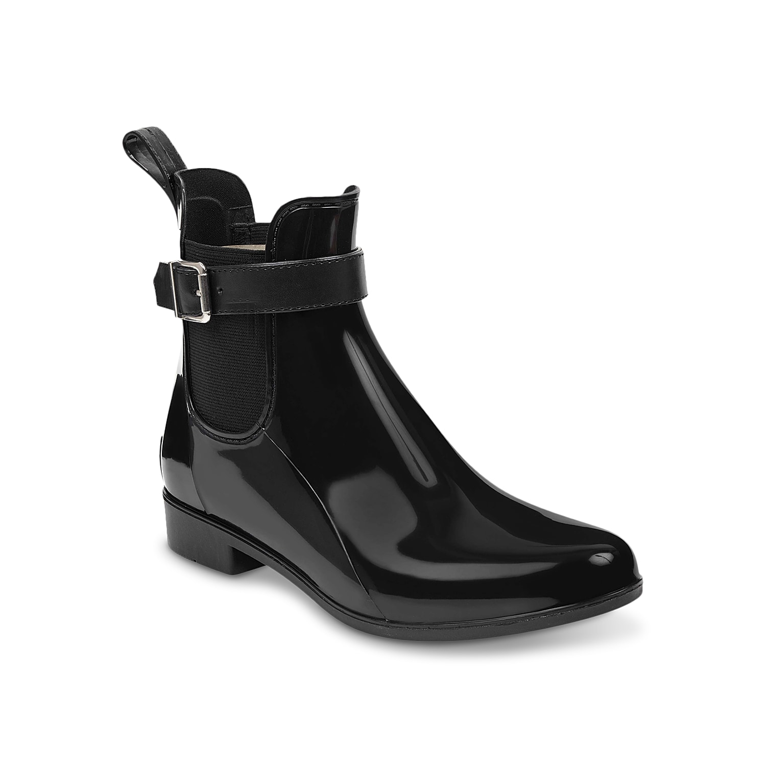 The Rainy bootie from Marc Fisher will be your go-to choice for bad weather days. The rubber construction is complemented by decorative ankle strap and modest heel. Double goring at the sides offers a snug fit.Click here for Boot Measuring Guide.
