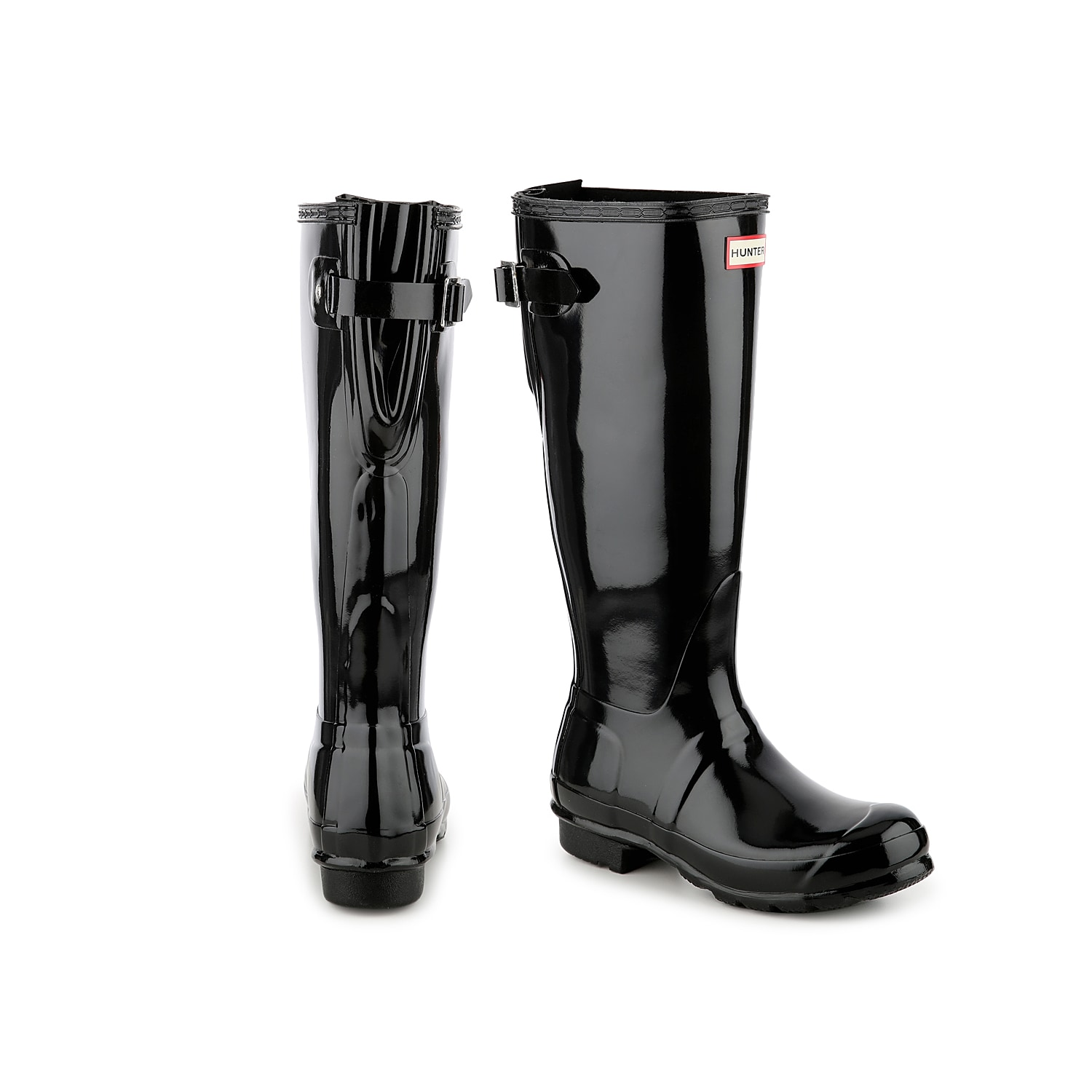 Take on even the gloomiest of days with the Original Tall Gloss Back Adjustable rain boot from Hunter. An adjustable back gusset makes these waterproof wellies perfect to pair with jeans and thick socks!   Click here for Boot Measuring Guide.