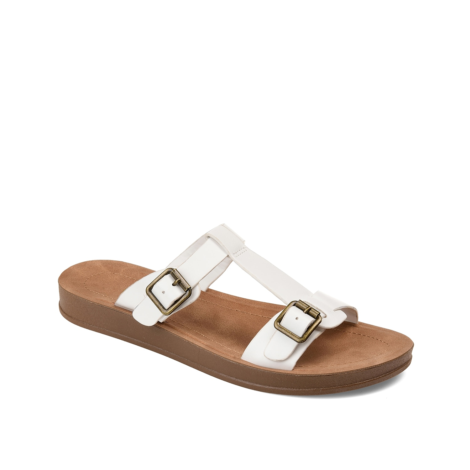 Step up your casual style with the Alice sandal from Journee Collection. Decorative buckles and a sporty T-strap make this flat sandal an everyday favorite with sundresses or shorts.