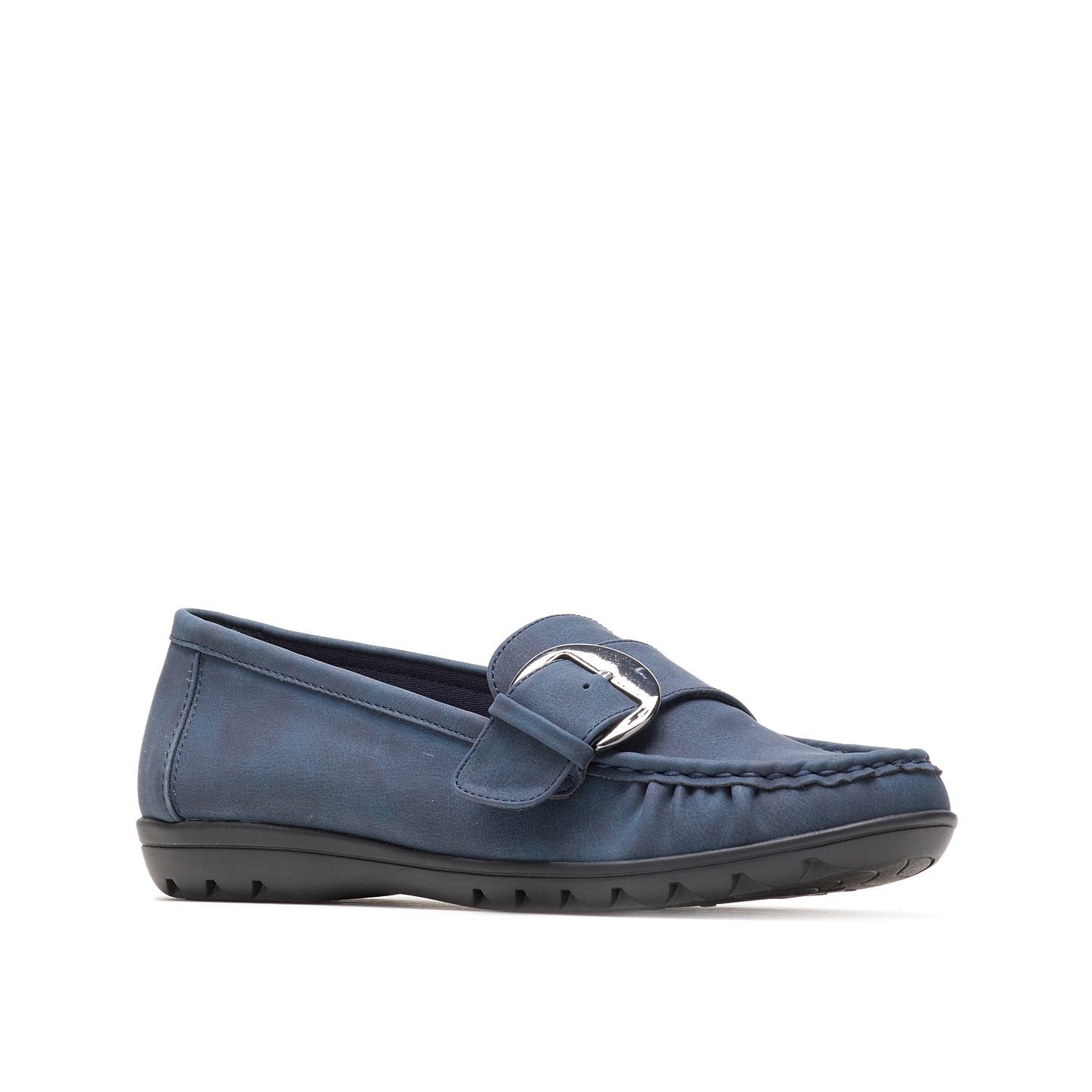 Styled with a moc-stitched toe and decorative buckle detail, the Vivid slip-on by Hush Puppies will be your go-to choice for casual days. This workday loafer includes memory foam footbed and a molded rubber outsole.