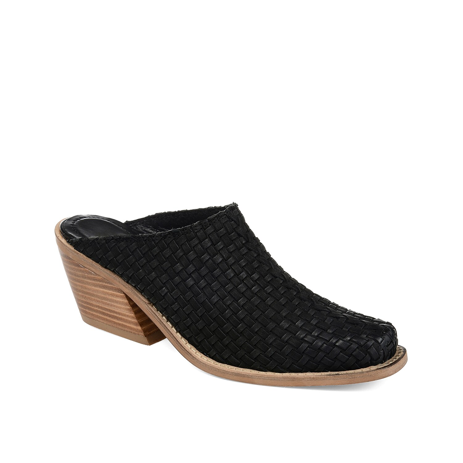 Feel sleek and stylish when wearing the Quinn mule from Journee Signature. The backless styling and leather, woven upper will go great with boyfriend jeans and a tucked-in top!