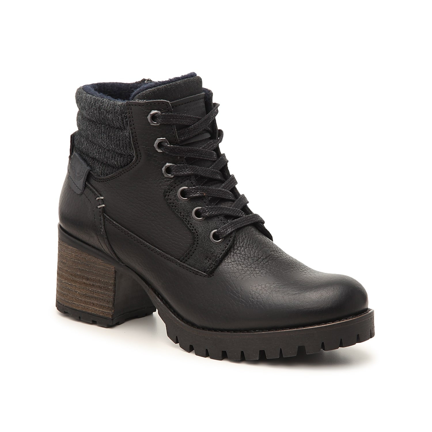 Edgy appeal comes easy with the Cassie bootie from Bullboxer. Featuring a sweater knit cuff and rugged lug sole, the leather ankle boot will pair perfectly with moto jackets or quilted sweatshirts.