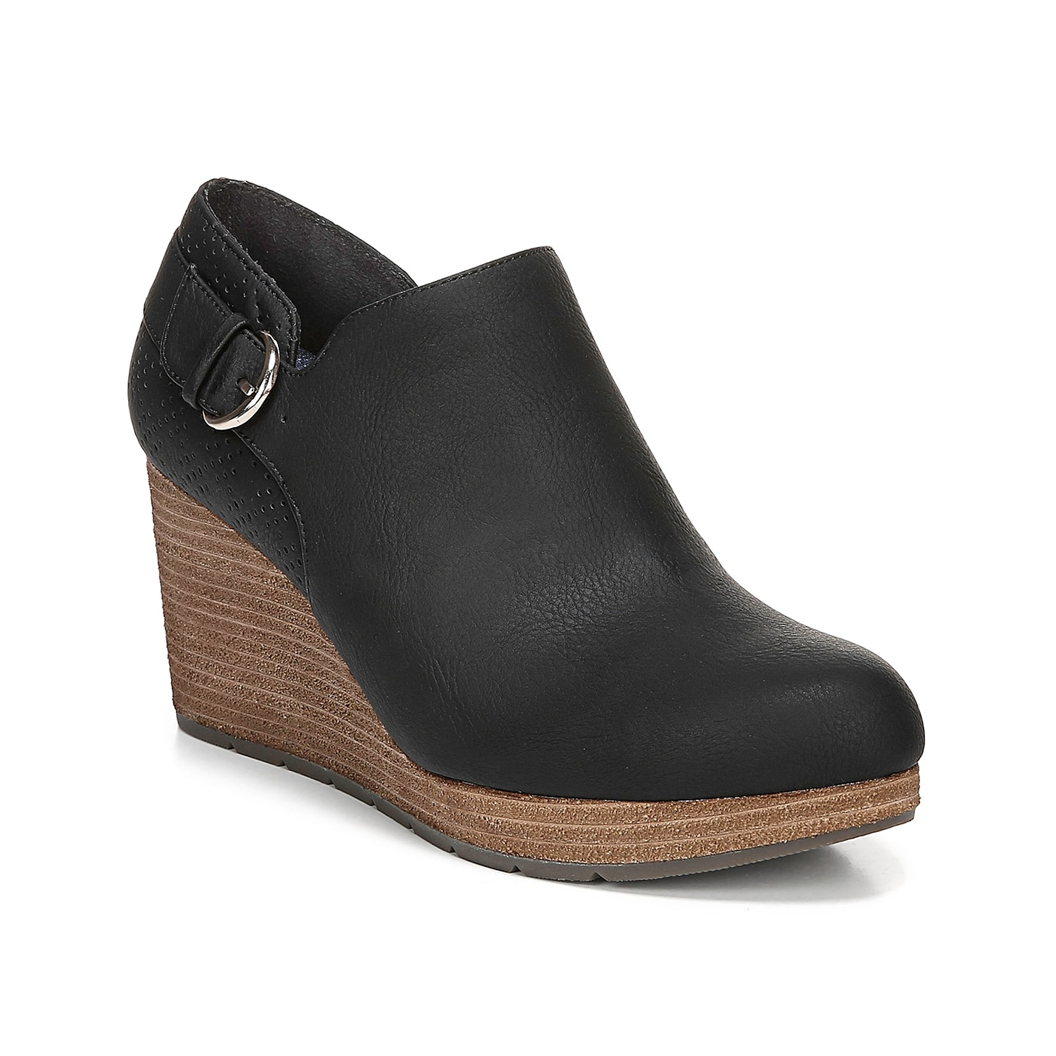 Lift your cool weather look with the Wynter wedge bootie from Dr. Scholl\\\'s. A laser-cut heel counter is embellished with a decorative buckle accent for modern style.