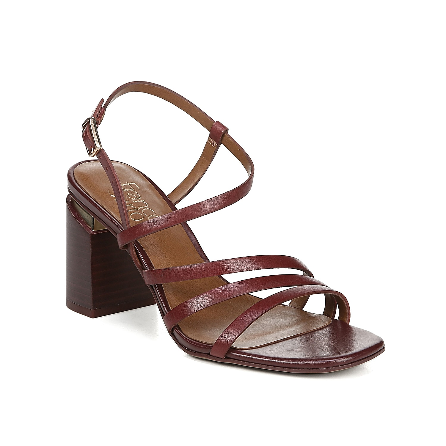 Inspired by \\\'90s styling, the Qitara sandal from Franco Sarto will keep you feeling chic in any outfit. Skinny asymmetrical straps and a square toe further the nostalgic vibe of this block-heeled pair.