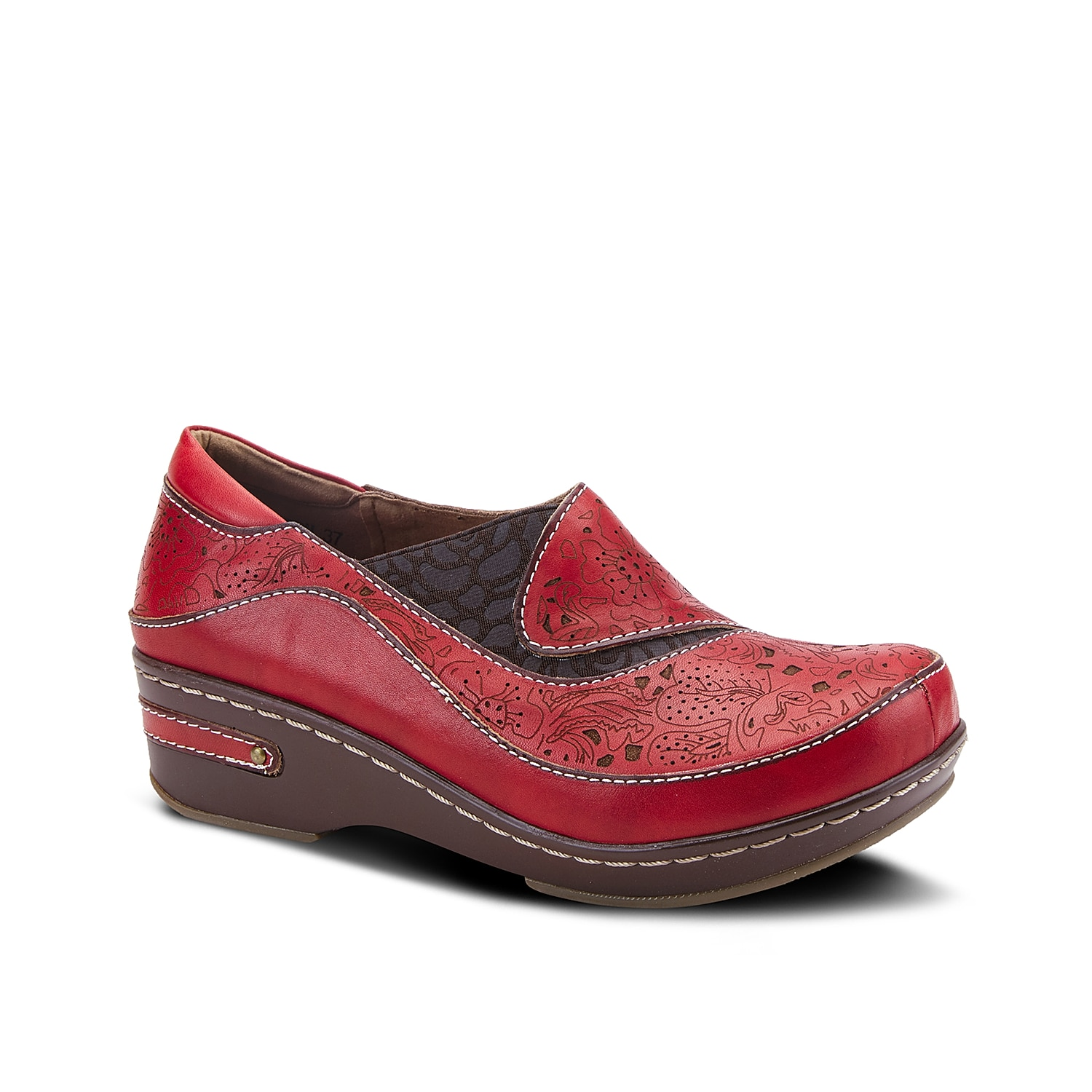 Playful design and practical comfort make the L\\\'Artiste Ranba clog a must-have. Sporting burnished leather upper with artistic laser-cut and etching details, this clog features textured side gore print, lightweight midsole and metal stud inlay on rubber sole.