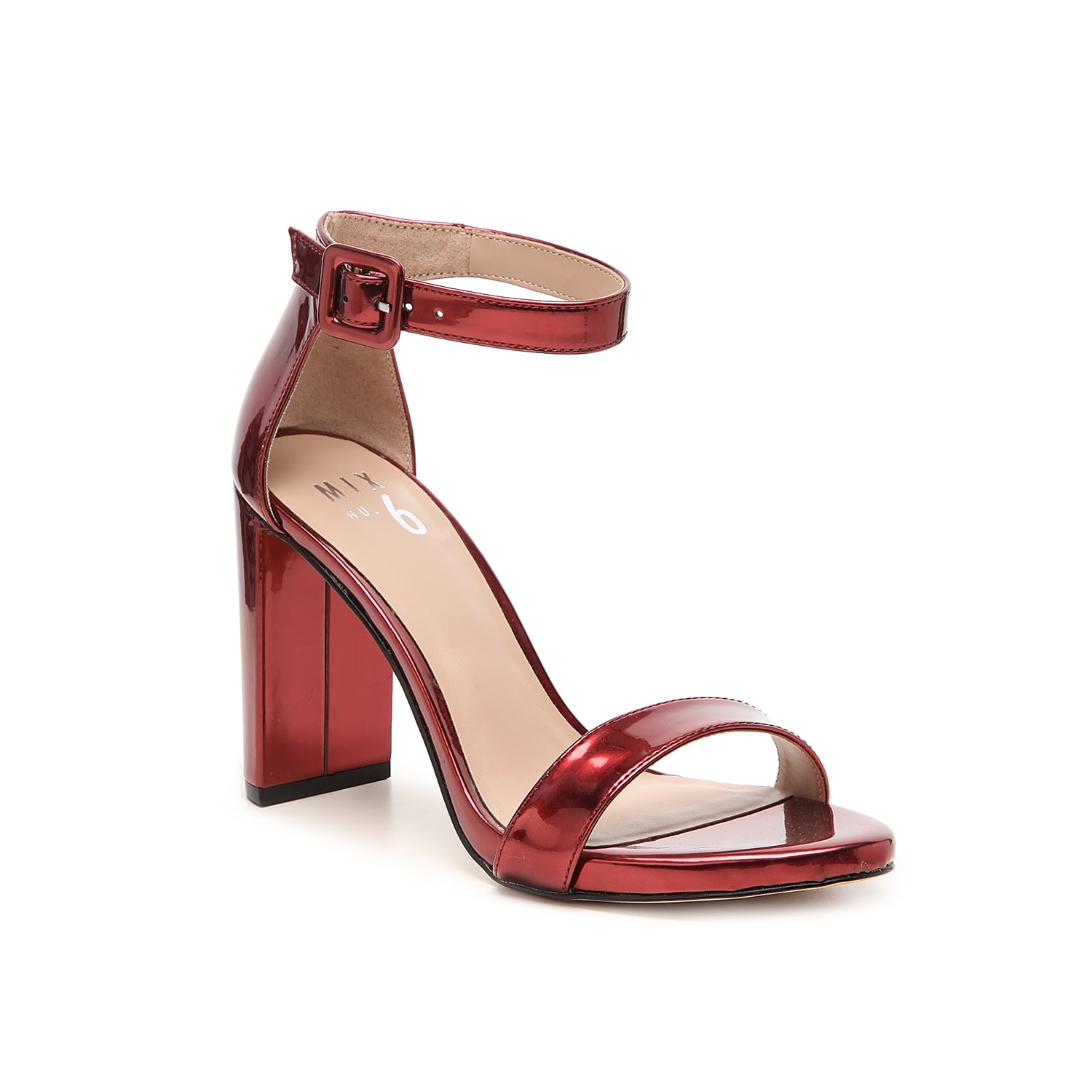 Flaunt chic style with the two-piece Cym sandal from Mix No. 6. An oversized buckle and block heel add modern finishing touches to this pair.