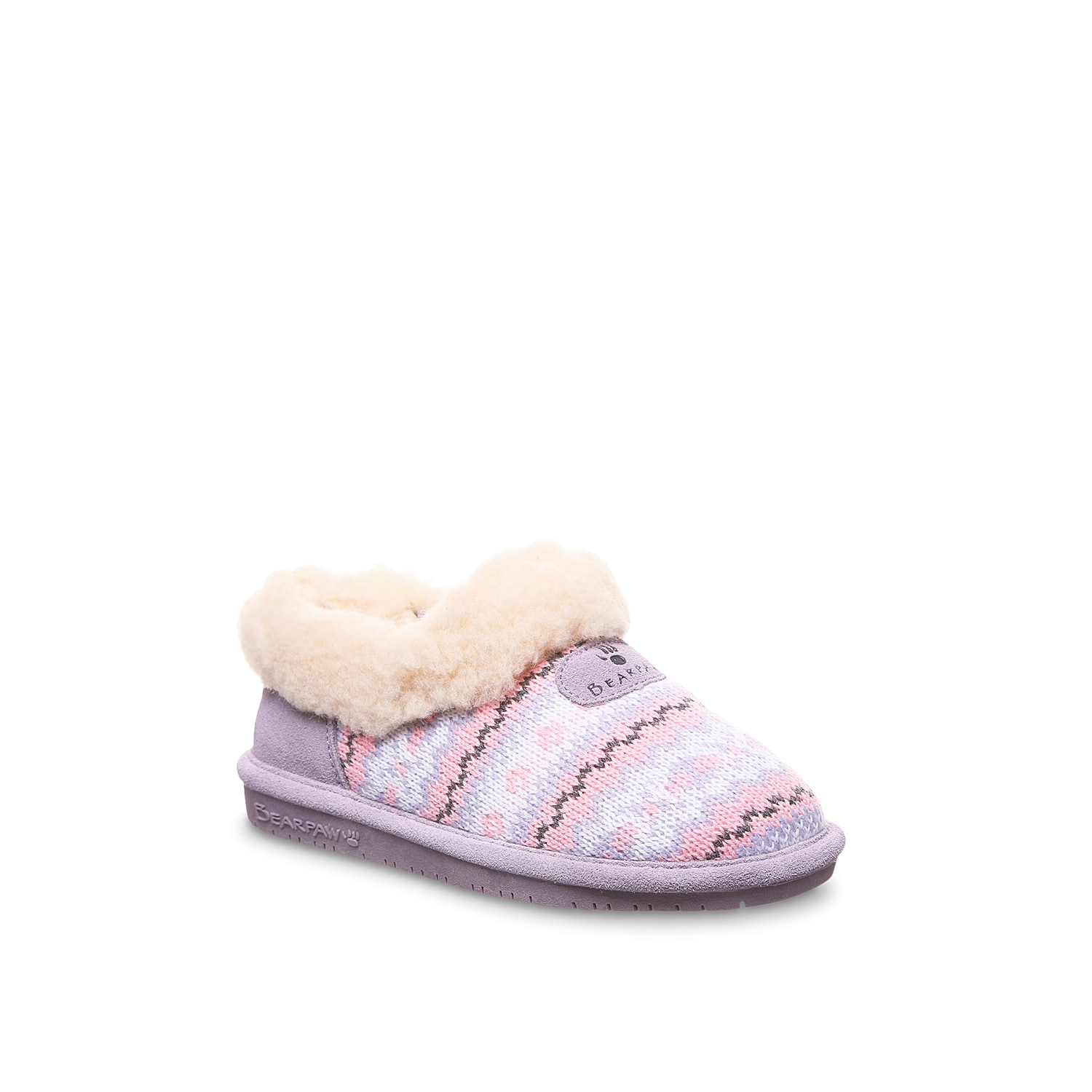 She\\\'ll kick back and relax in the Alice slippers from Bearpaw. These cozy knitted slip-ons feature a warm wool-blend lining to keep toes toasty and NeverWet water-resistance to keep them dry. Not sure which size to order? Clickhereto check out our Kids' Measuring Guide! For more helpful tips and sizing FAQs, clickhere.