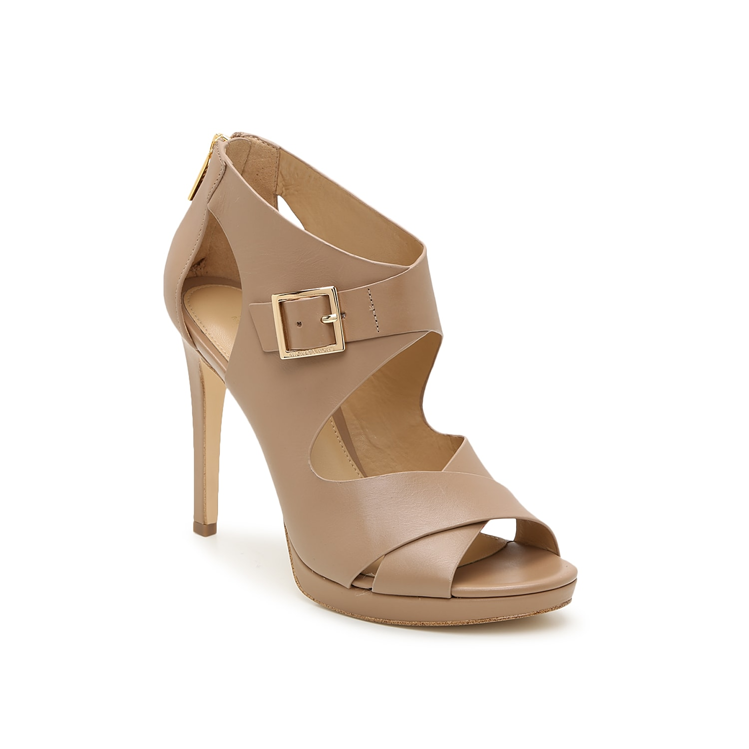 Make a style statement in the Kimber platform sandal from Michael Michael Kors. This leather pair is fashioned with a gold-toned buckle accent and side cut outs for eye-catching appeal.
