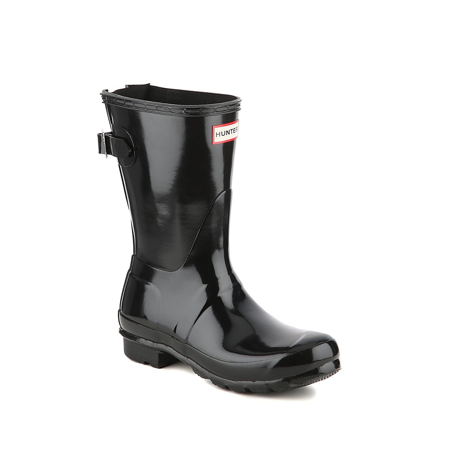 Splash around in the Hunter Original Short Gloss rain boot. These wellies feature an adjustable back gusset to help you perfect the fit, allowing you to rock this waterproof pair with jeans and thick socks without a worry. Click here for Boot Measuring Guide.