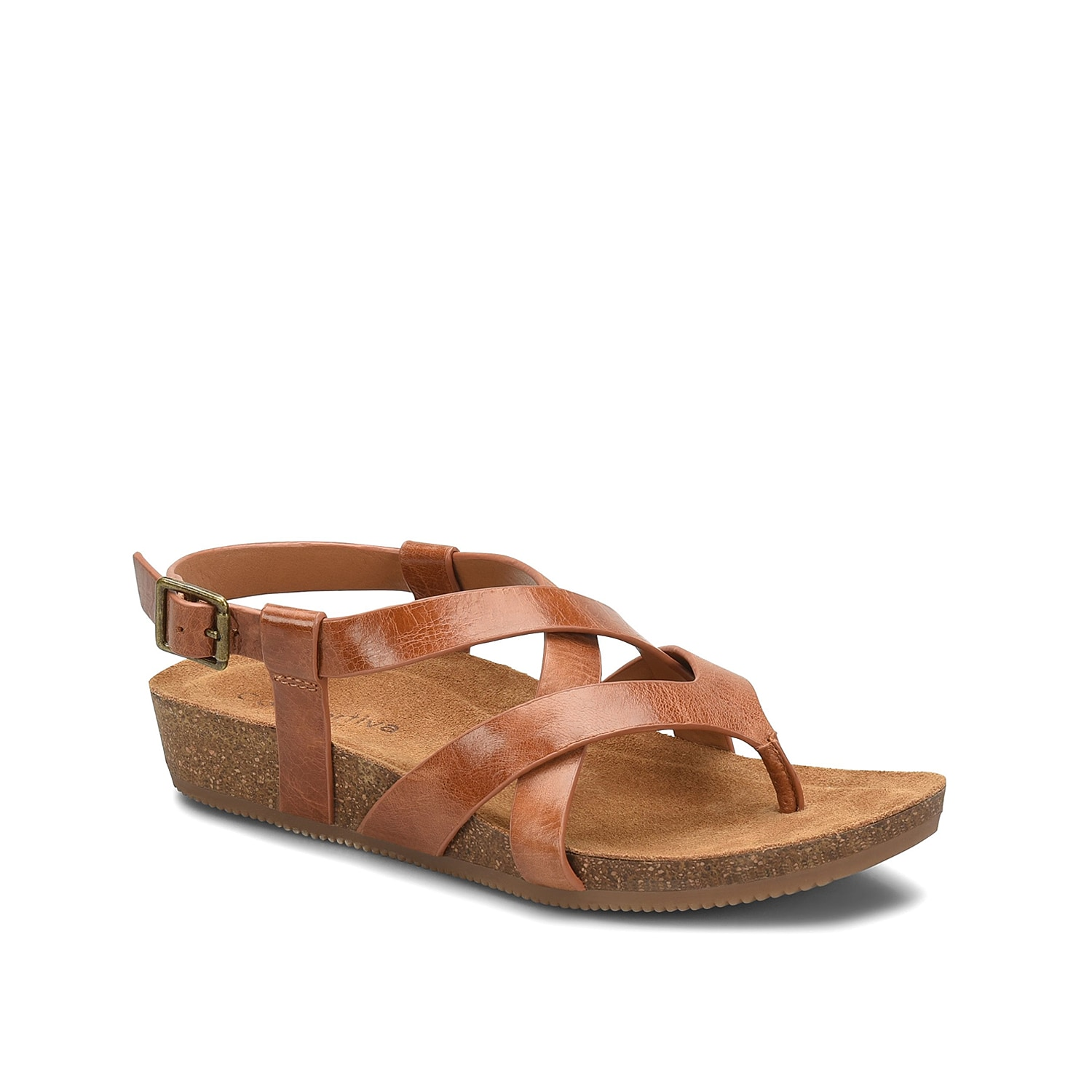 Casual meets comfort with the Gamora wedge sandal from Comfortiva. This strappy silhouette is fashioned with a leather upper and a cork heel for some height!