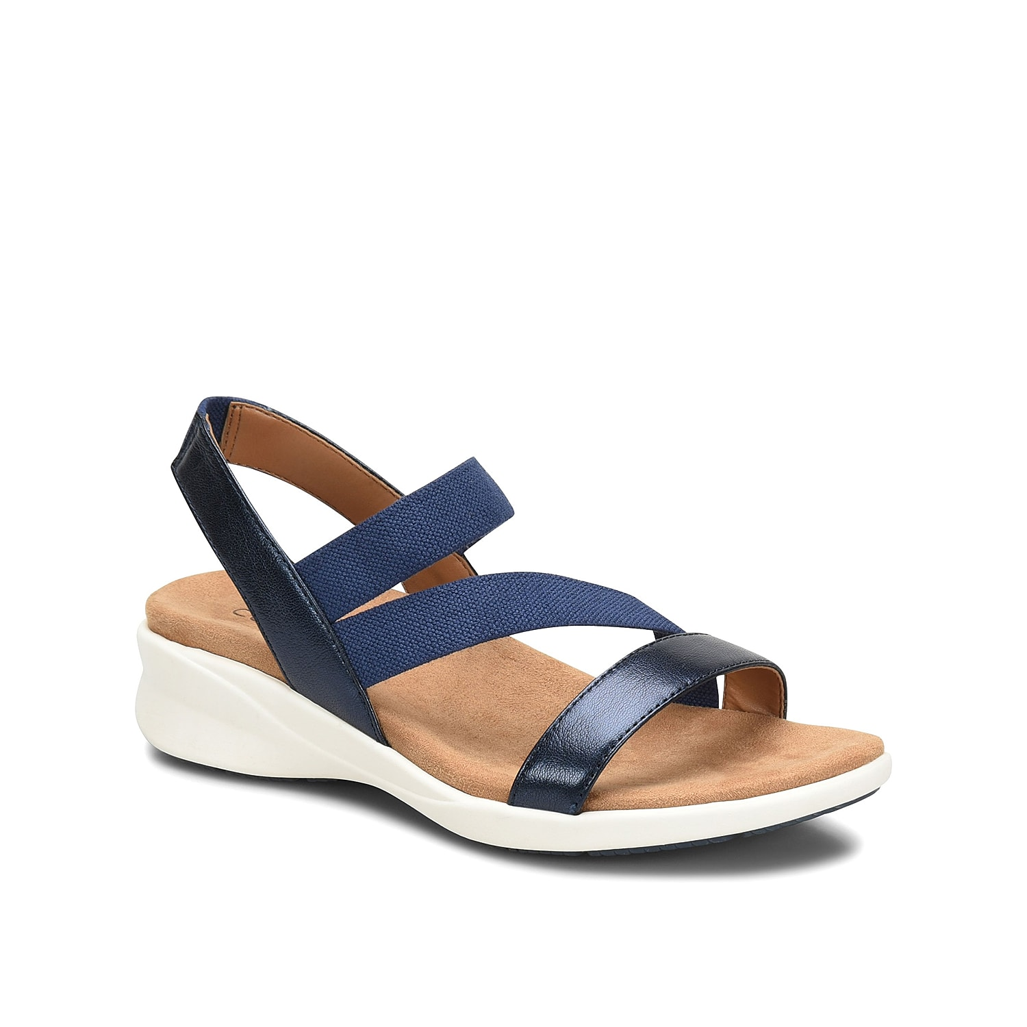 Don\\\'t underestimate the classic look of the Tayla wedge sandal from Comfortiva. This leather pair is fashioned with an elastic front strap and a sporty-inspired design that will give you limitless styling options!