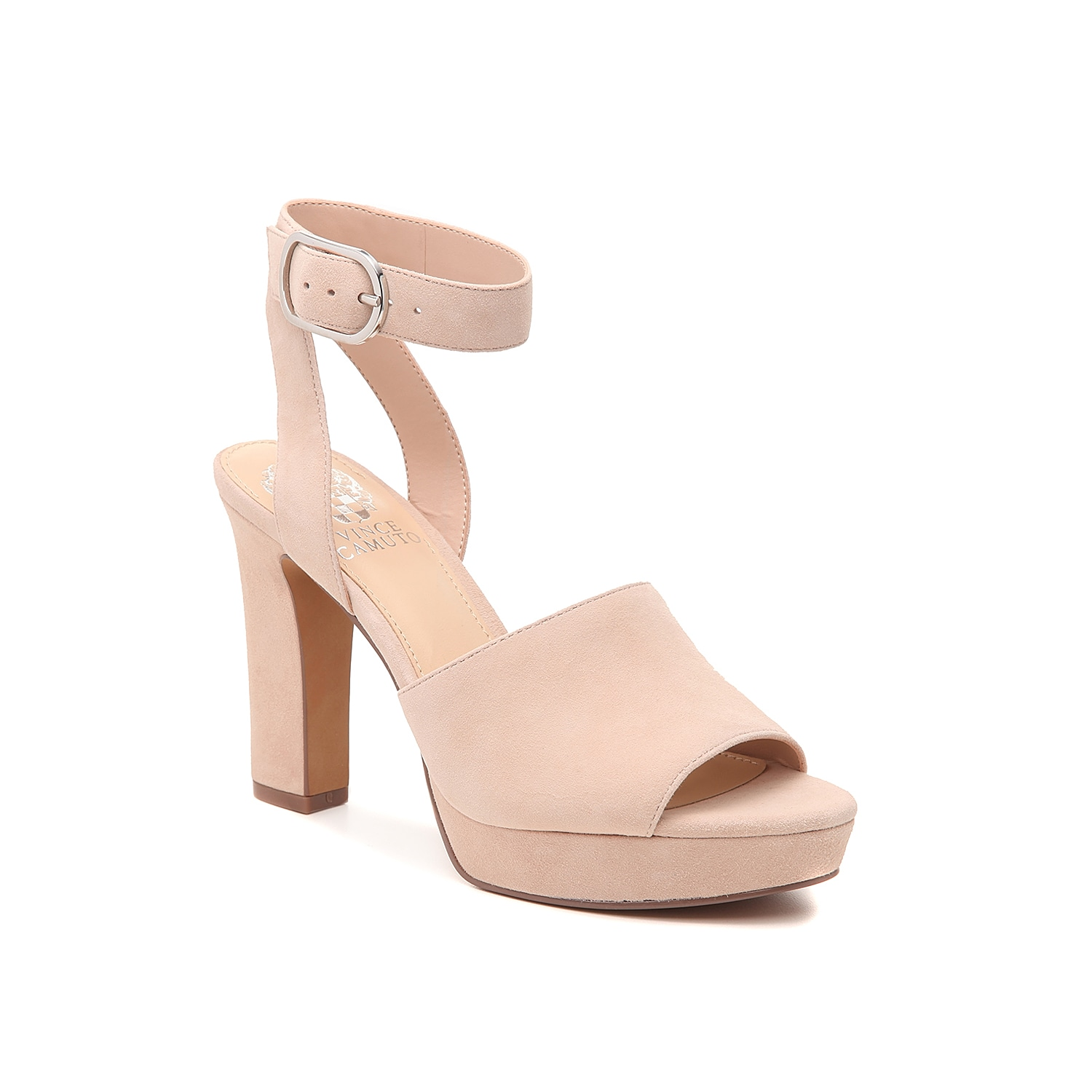 Elevate your entire look with the Sophette platform sandal from Vince Camuto. This two-piece, suede pair is fashioned with a platform detail and secured ankle strap for confident steps!
