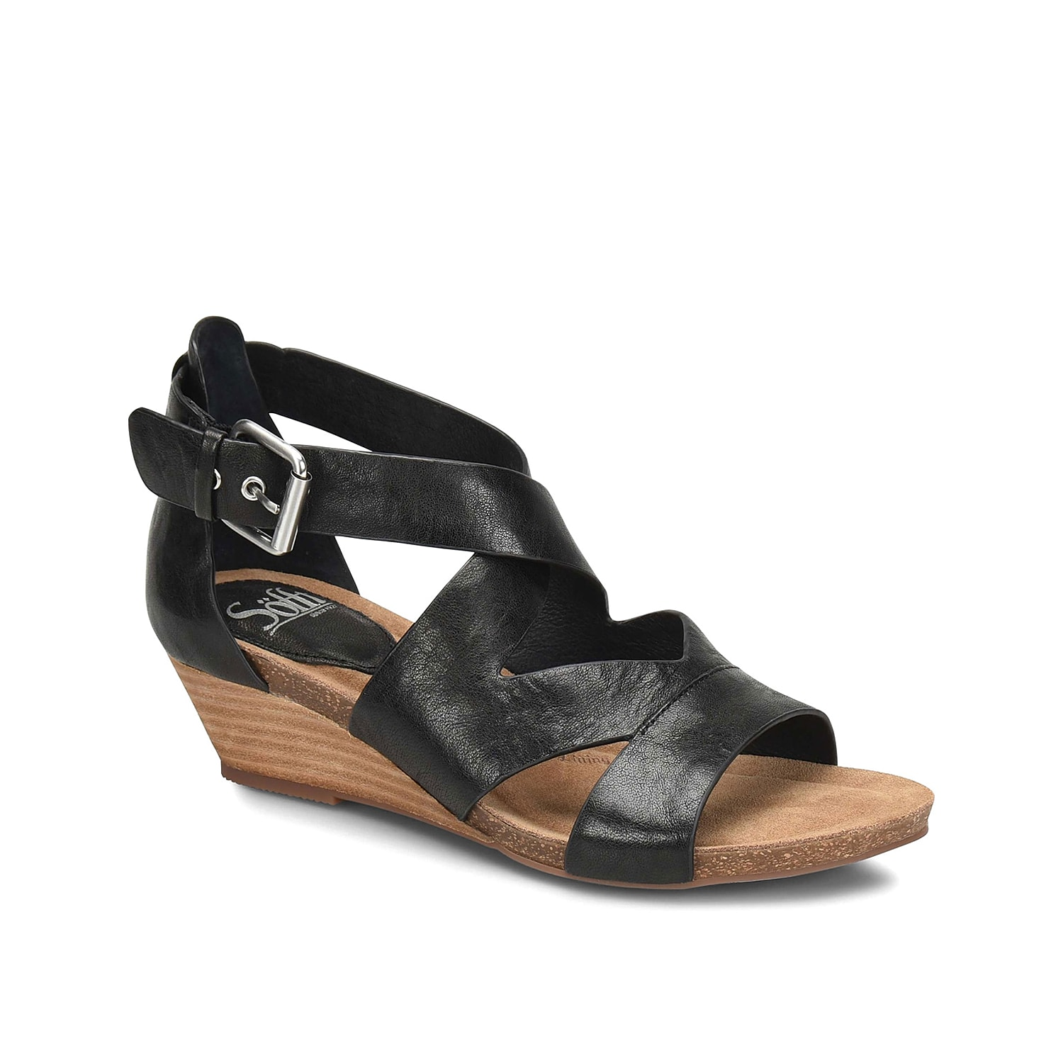 Show off your femme style with the Vara wedge sandal from Sofft. This one-of-a-kind pair is fashioned with a leather upper and a stacked heel for some height!