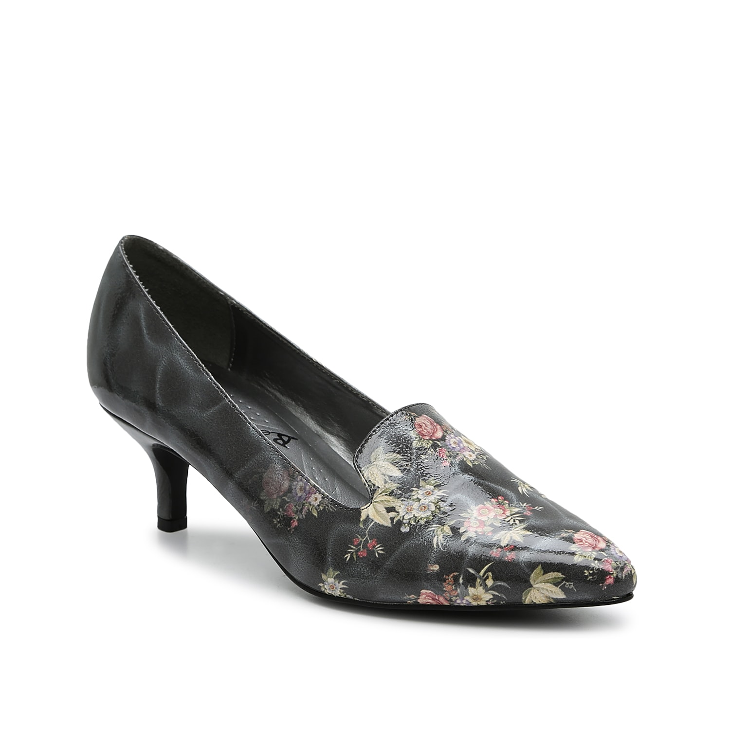 The Bobcat pump from Bellini adds a sassy side to work or weekend ensembles. This floral print pair features a loafer-inspired vamp and a kitten heel for classic appeal.