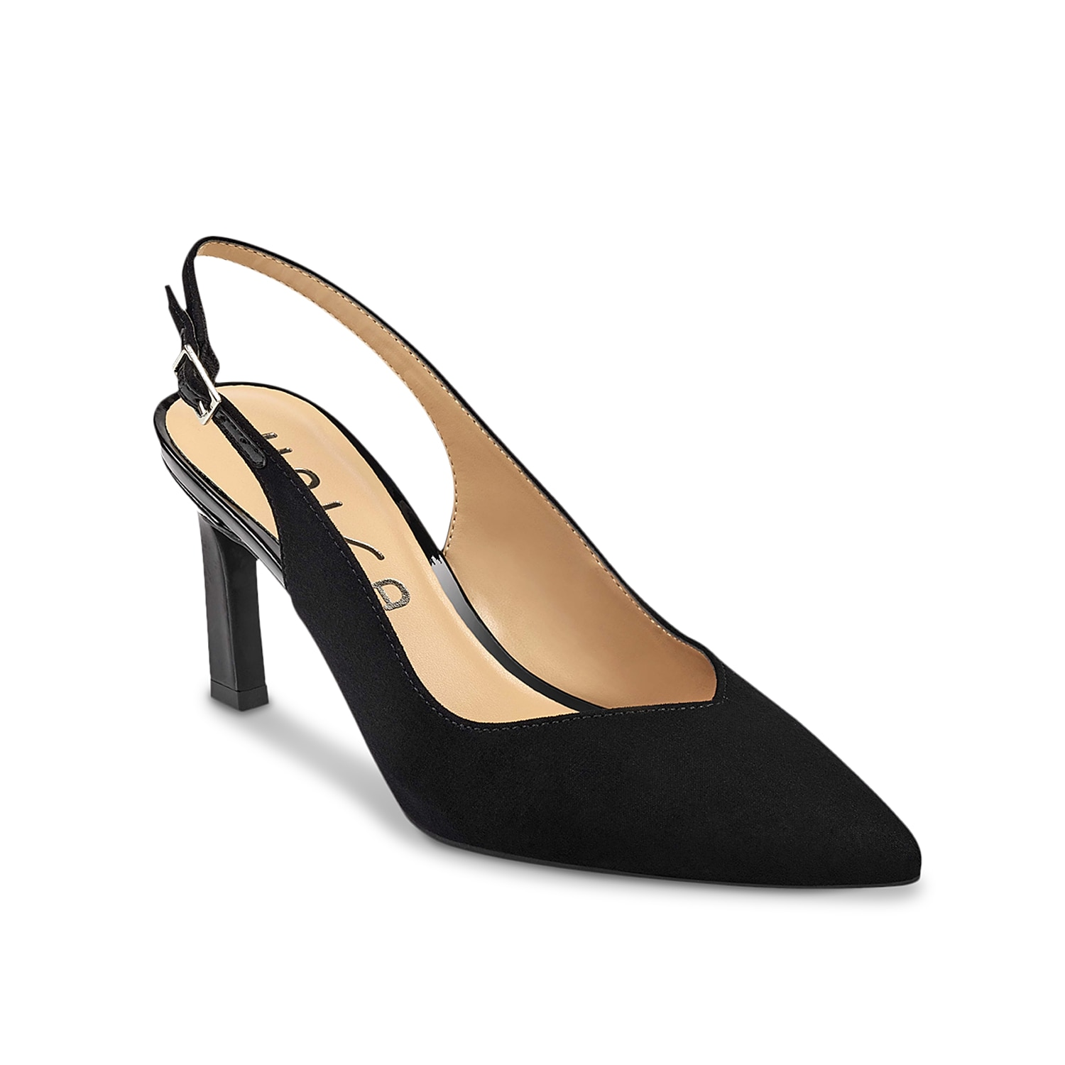 Dress up your ensemble with the Rylo pump from Unisa. This iconic pair is fashioned with an open vamp, slingback strap, and a slender heel.