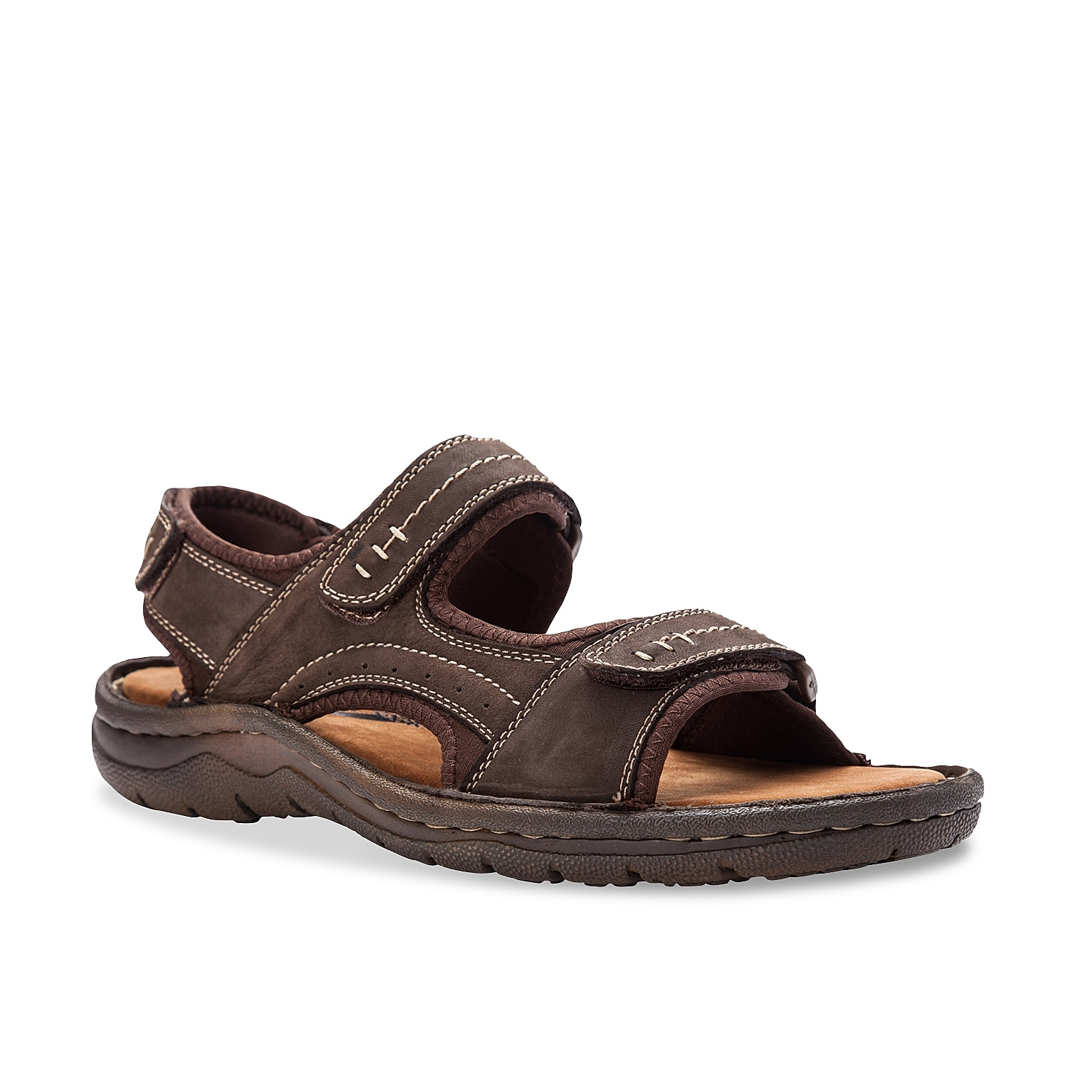 Take on any adventure in the Jordy sandal from Propet. This sturdy pair features adjustable hook and loop straps for a custom fit and a plush footbed for added ease.
