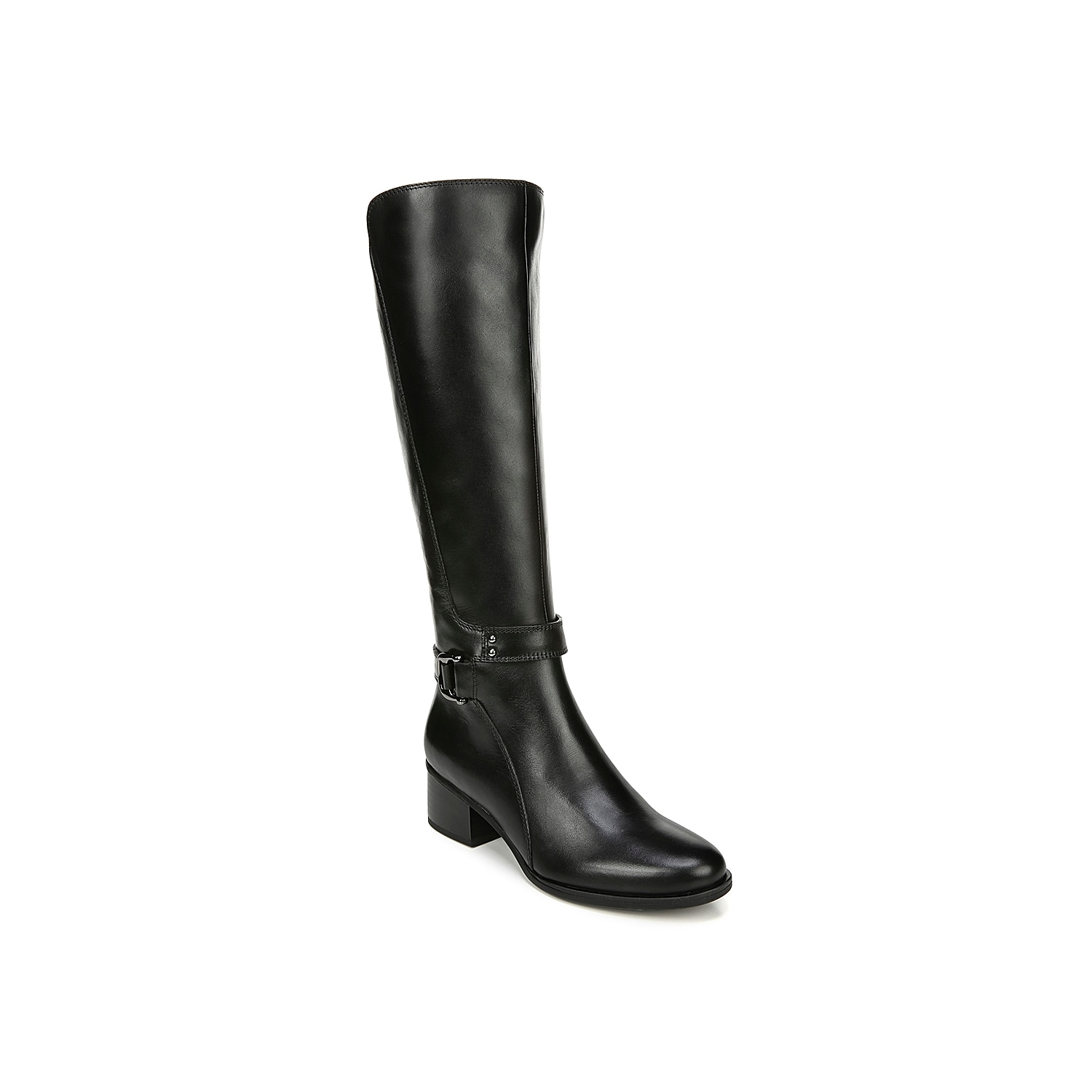 The Koka riding boot from Naturalizer will lend a refined feel to any outfit. These tall boots feature a buckle accent at the ankle and a stacked block heel for added height. Click here for Boot Measuring Guide.
