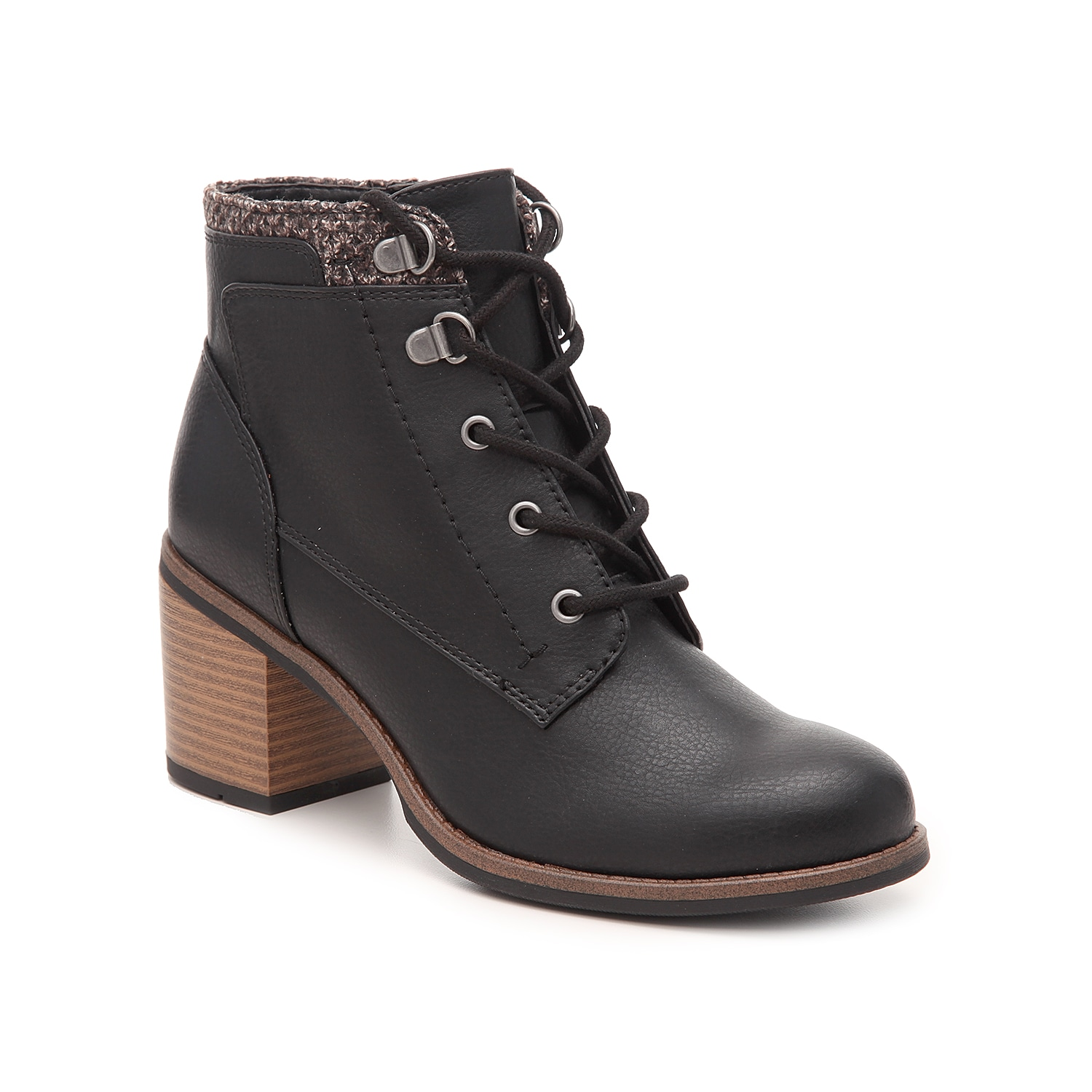 The Delroy bootie from White Mountain will polish off your cool-weather shoe collection this season. The fabric topline, hiker-inspired laces, and chunky heel are the perfect combination for your rotating wardrobe! Click here for Boot Measuring Guide.