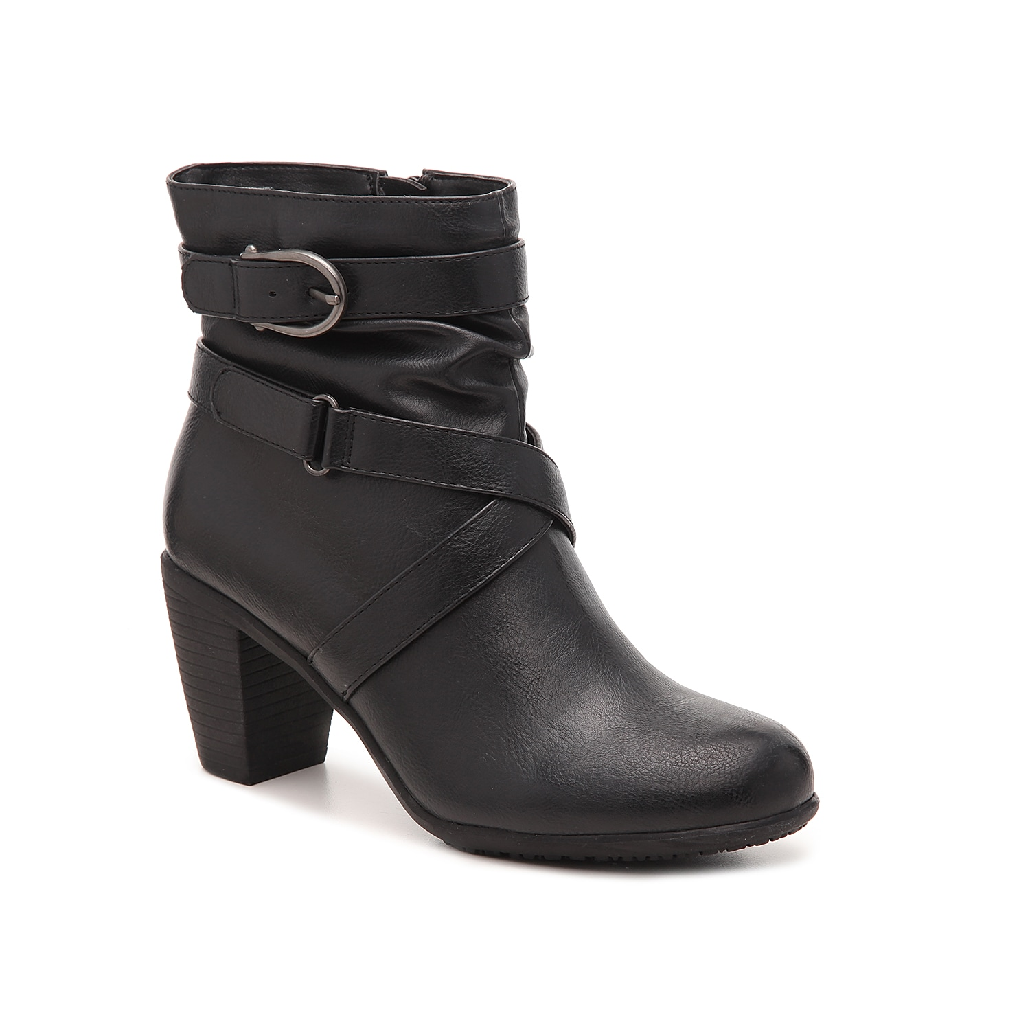 The Oyster bootie from Levity will give your wardrobe limitless styling options. The buckle accents and stacked heel will elevate your entire look!