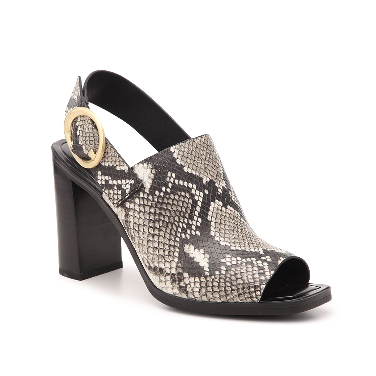 Lift your sophisticated style with the snake print Walter sandal from Sarto by Franco Sarto. The brushed metal buckle and square peep toe complement the hooded leather construction for your new block heeled essential.