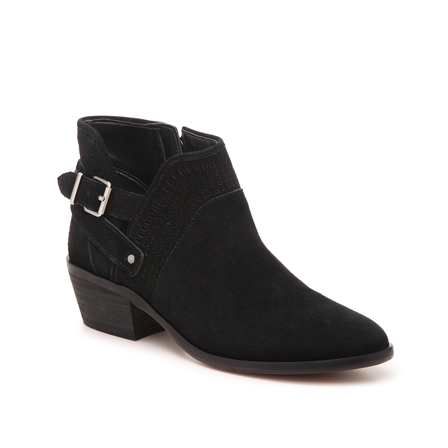Step up your style when wearing the Pralata bootie from Vince Camuto. This ankle boot is fashioned with a laser cut, suede upper and an exposed buckle accent for a fashion-forward look!