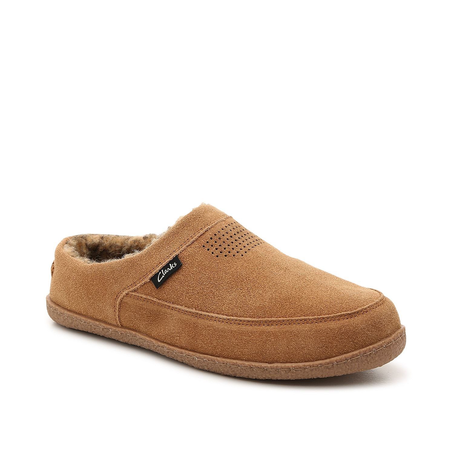 Stay comfortable around the house when wearing the Clog slipper from Clarks. This slip-on features a suede construction and a faux fur lining to keep your feet cozy all year long!