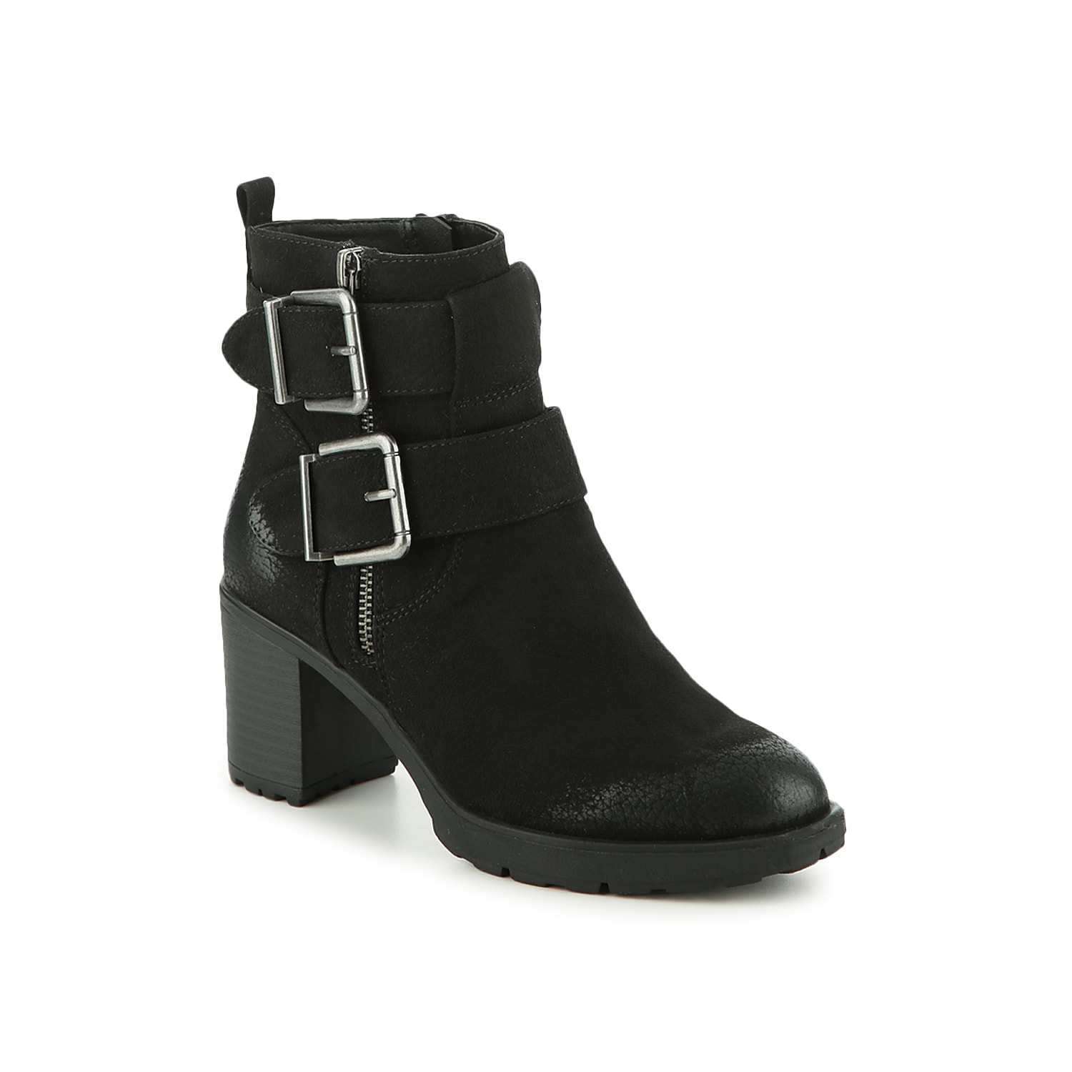 Showcase your edgy attitude with the Gilmour booties from White Moutain. These ankle boots feature bold side buckles and a chunky block heel to bring height to distressed jeans or a sweater dress. Click here for Boot Measuring Guide.