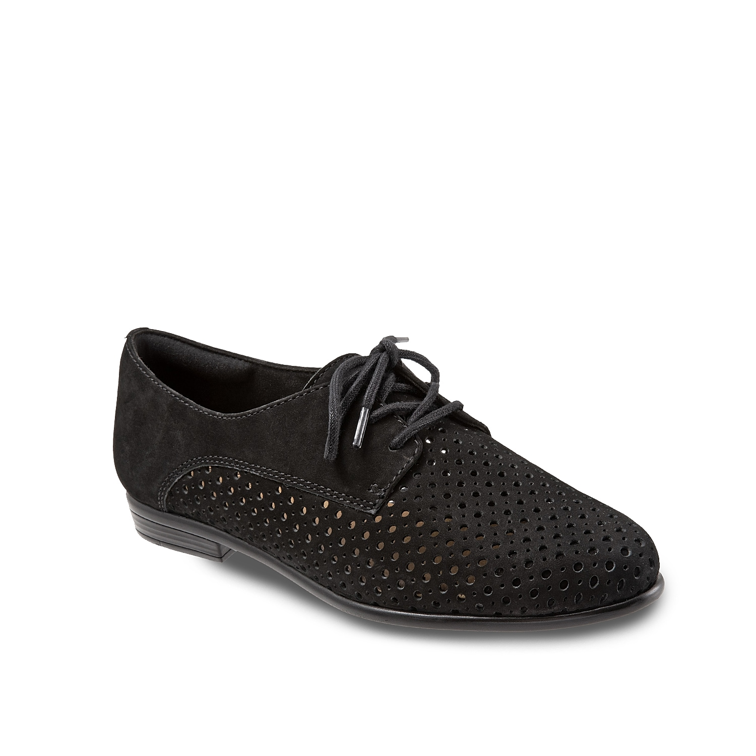 Stay classy while feeling comfortable with the Lizzie oxford from Trotters. A laser cut construction adds breathability while the memory foam footbed cushions every step!